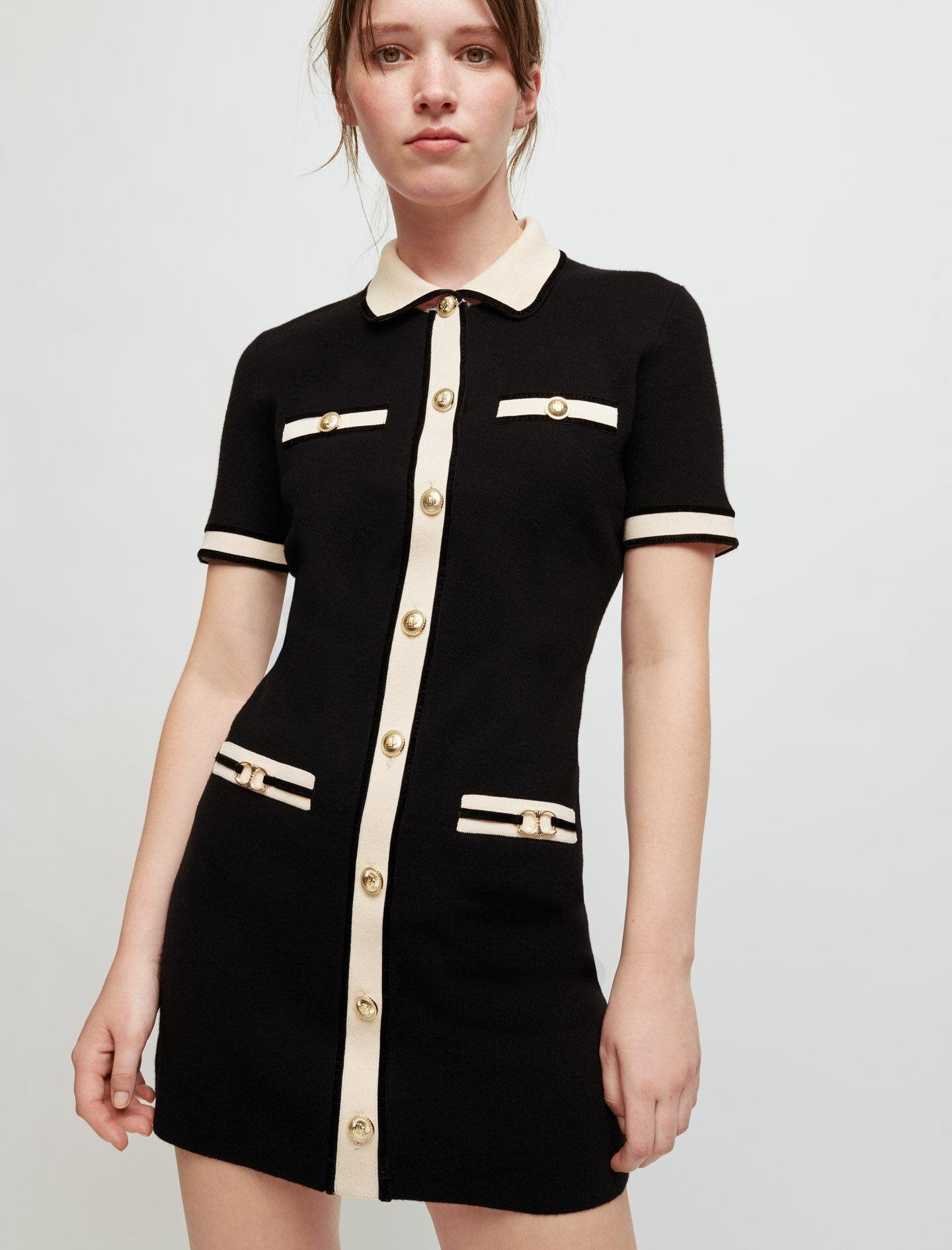 DRESS IN CONTRASTING KNIT AND HORSEBIT