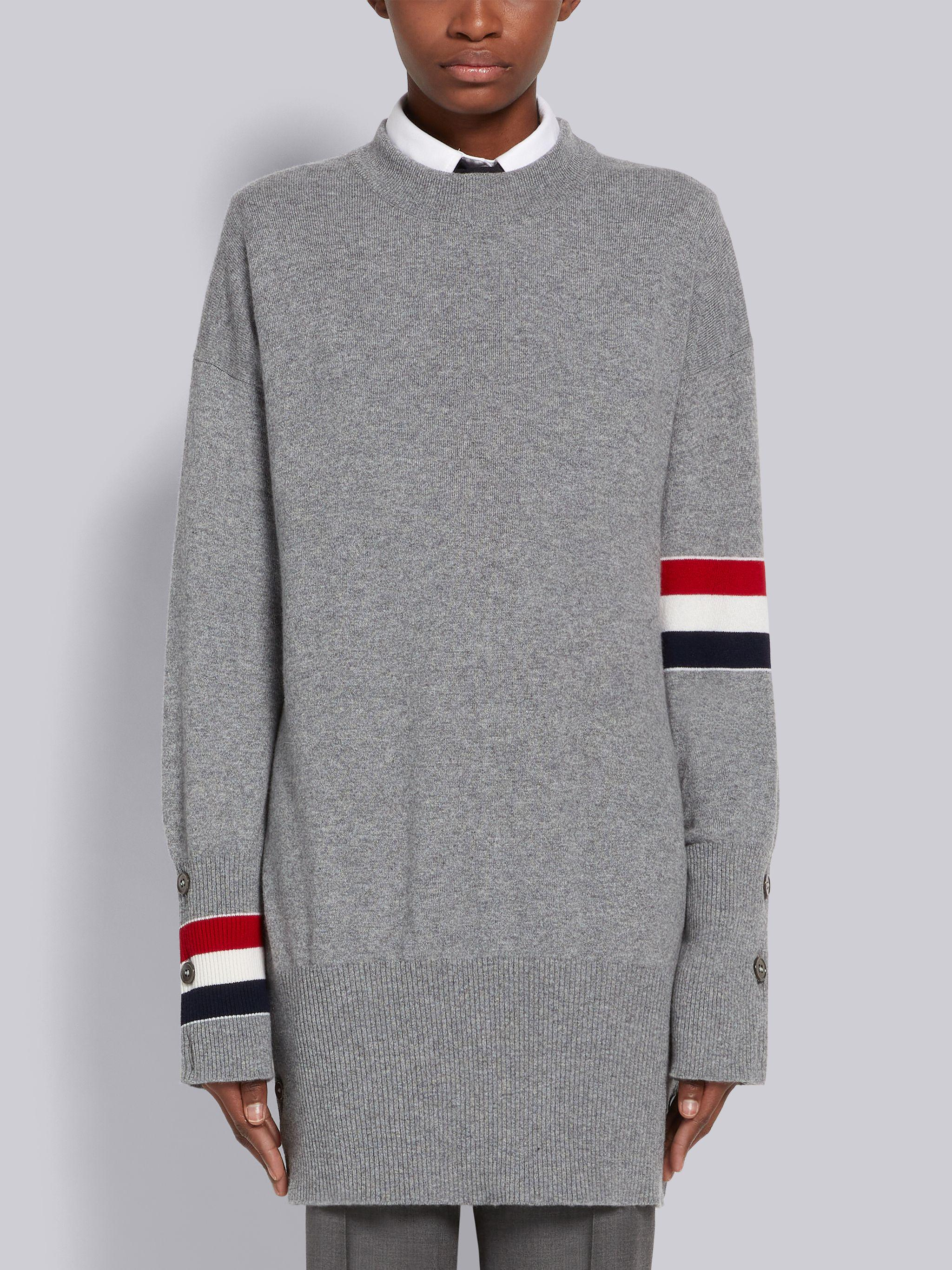 Light Grey Jersey Stitch Cashmere Stripe Armband and Cuff Exaggerated Fit Pullover