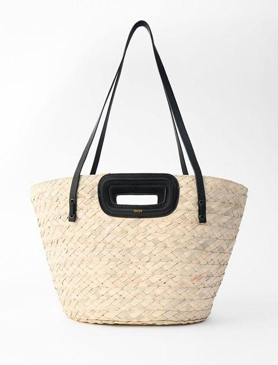BASKET BAG IN RAFFIA AND LEATHER