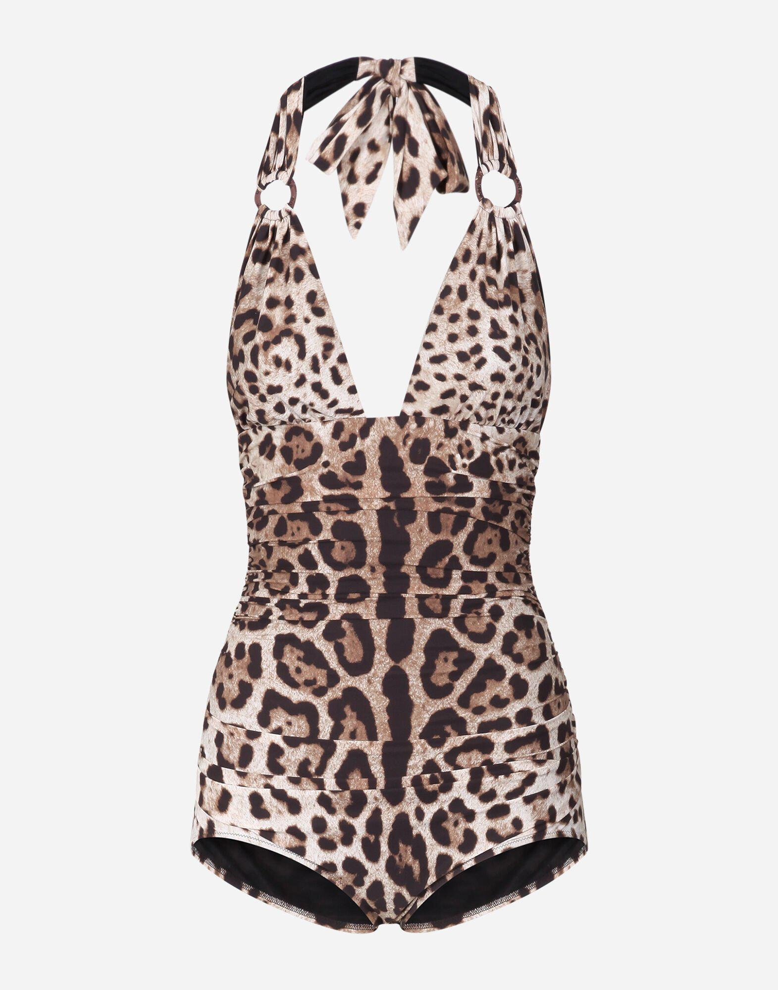 Leopard-print one-piece swimsuit with plunging neckline