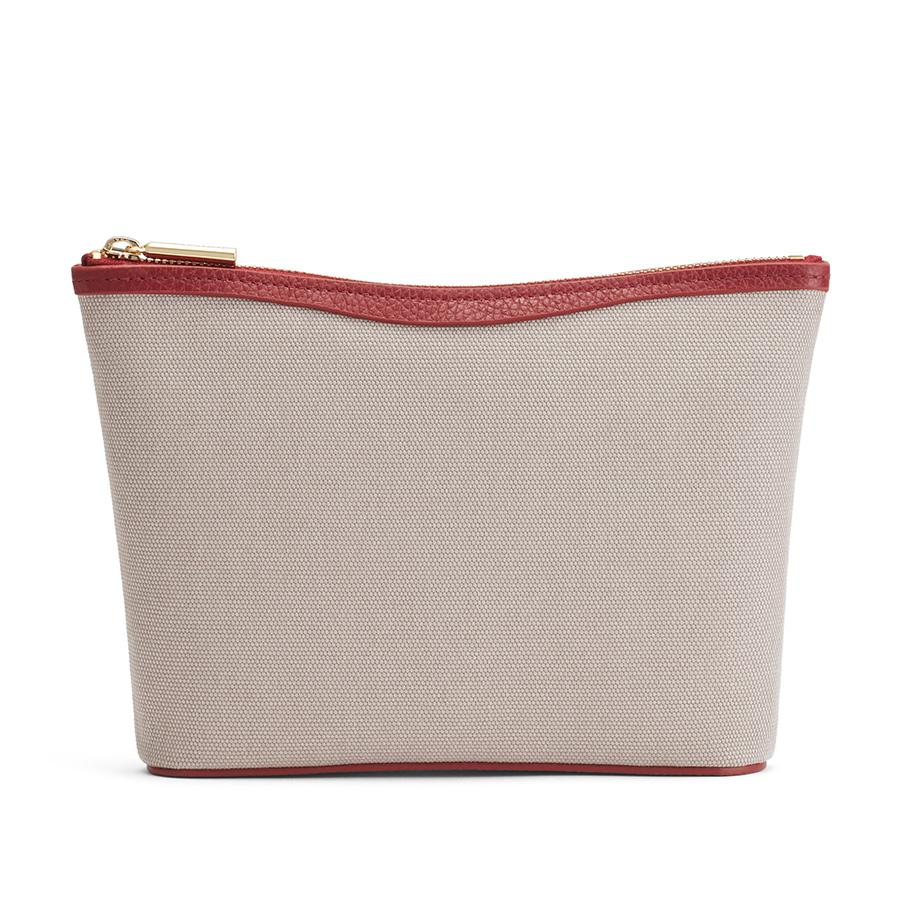 Women's Small Canvas Zipper Pouch in Soft Grey/Ruby | Canvas & Smooth Leather by Cuyana