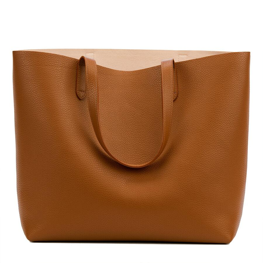 Women's Classic Structured Leather Tote Bag in Caramel/Blush Pink | Pebbled Leather by Cuyana