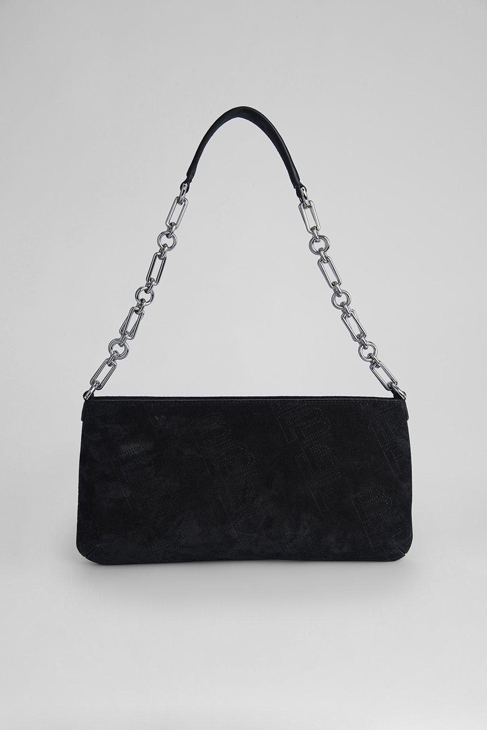 Holly Black Perforated Suede Leather