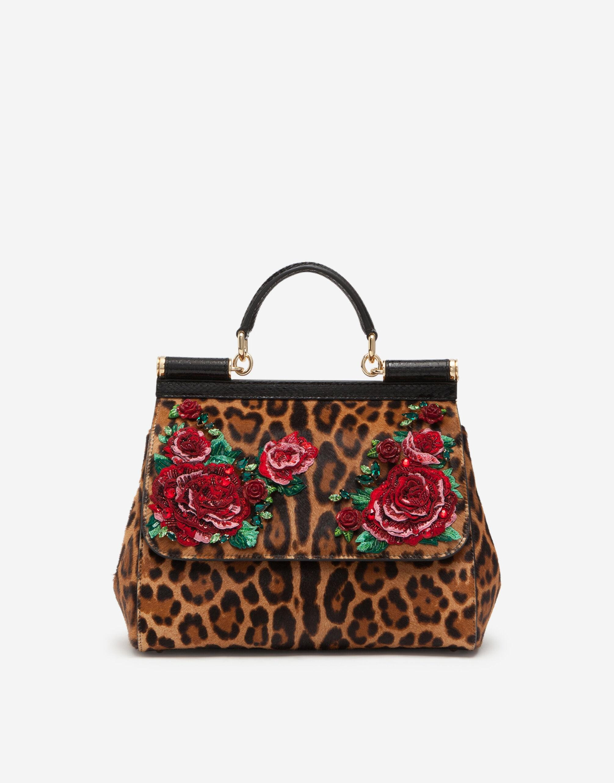 Large Sicily bag in embroidered leopard-print pony hair