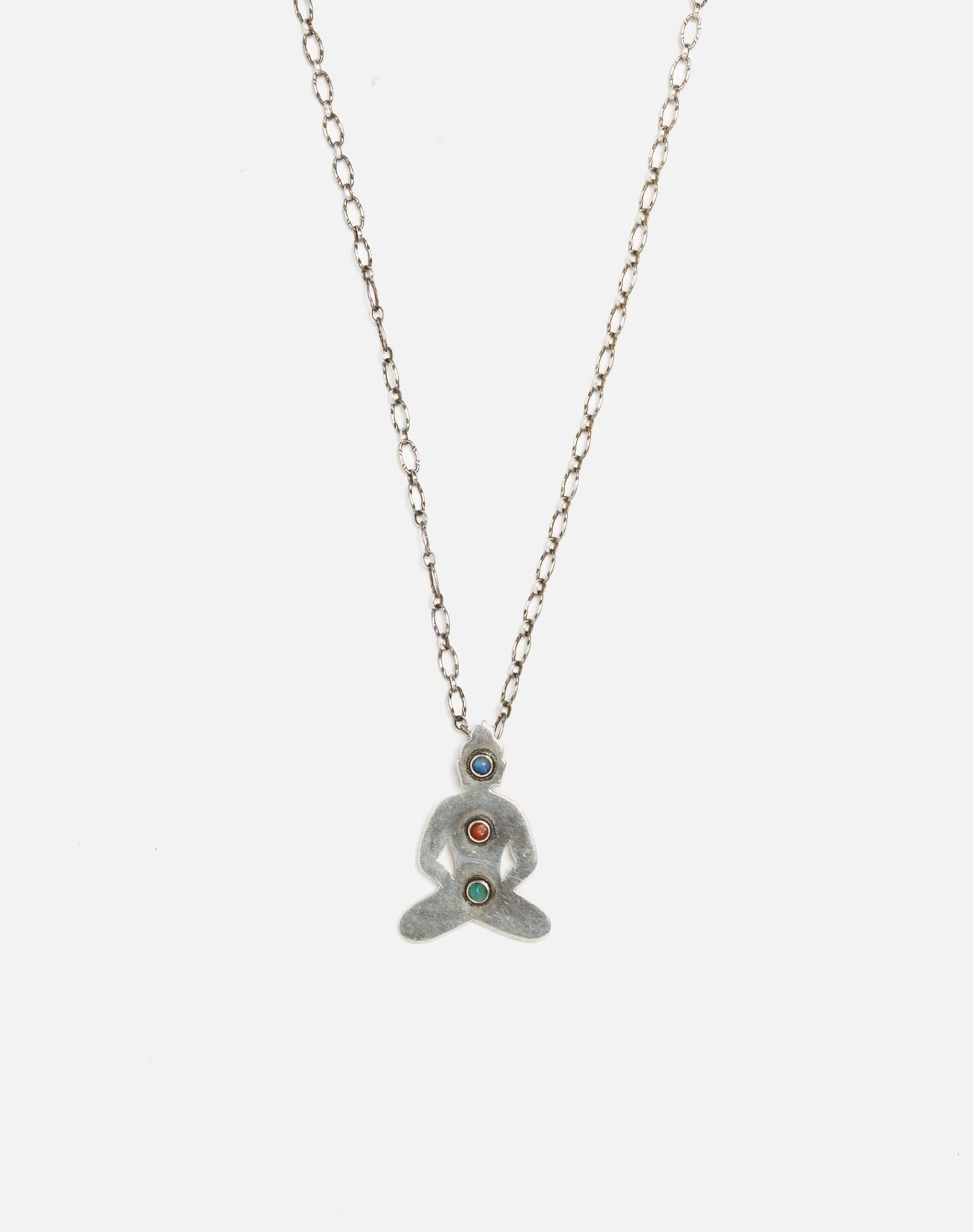 1960s Sterling Silver Chakra Stones Necklace - #85