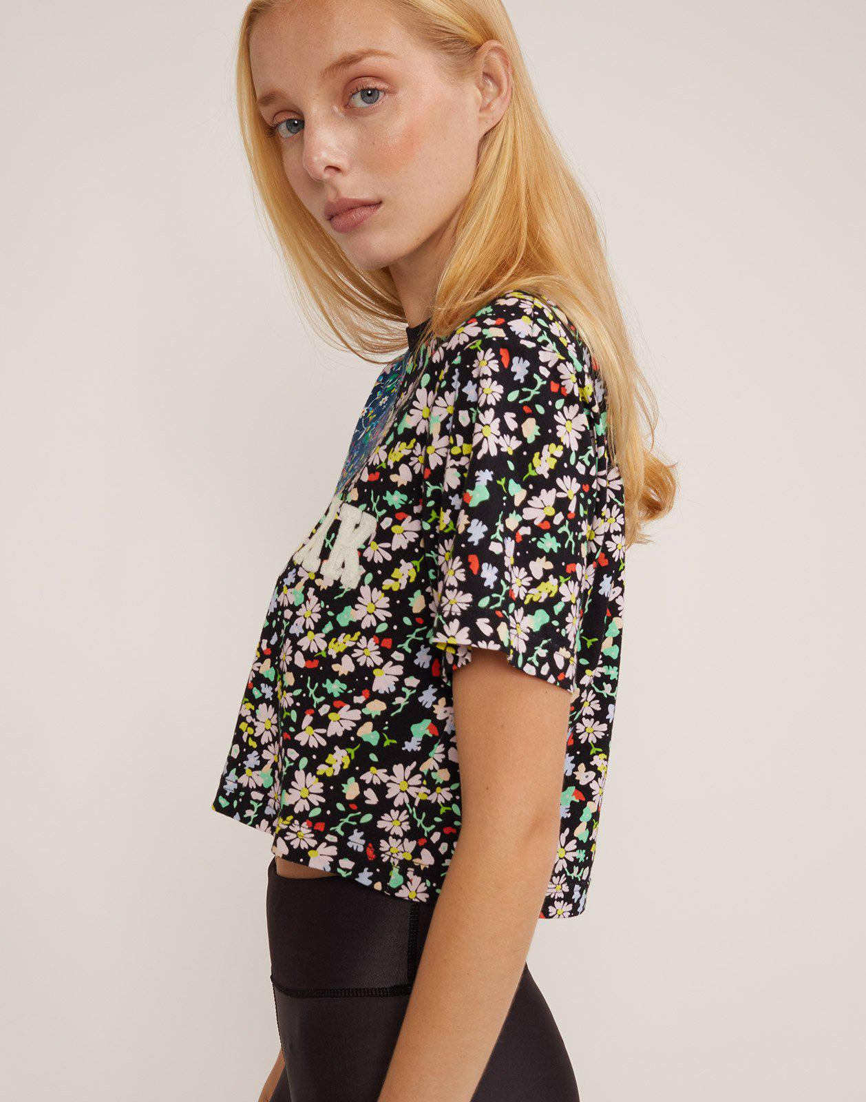 Embroidered Crop Print Tee 2