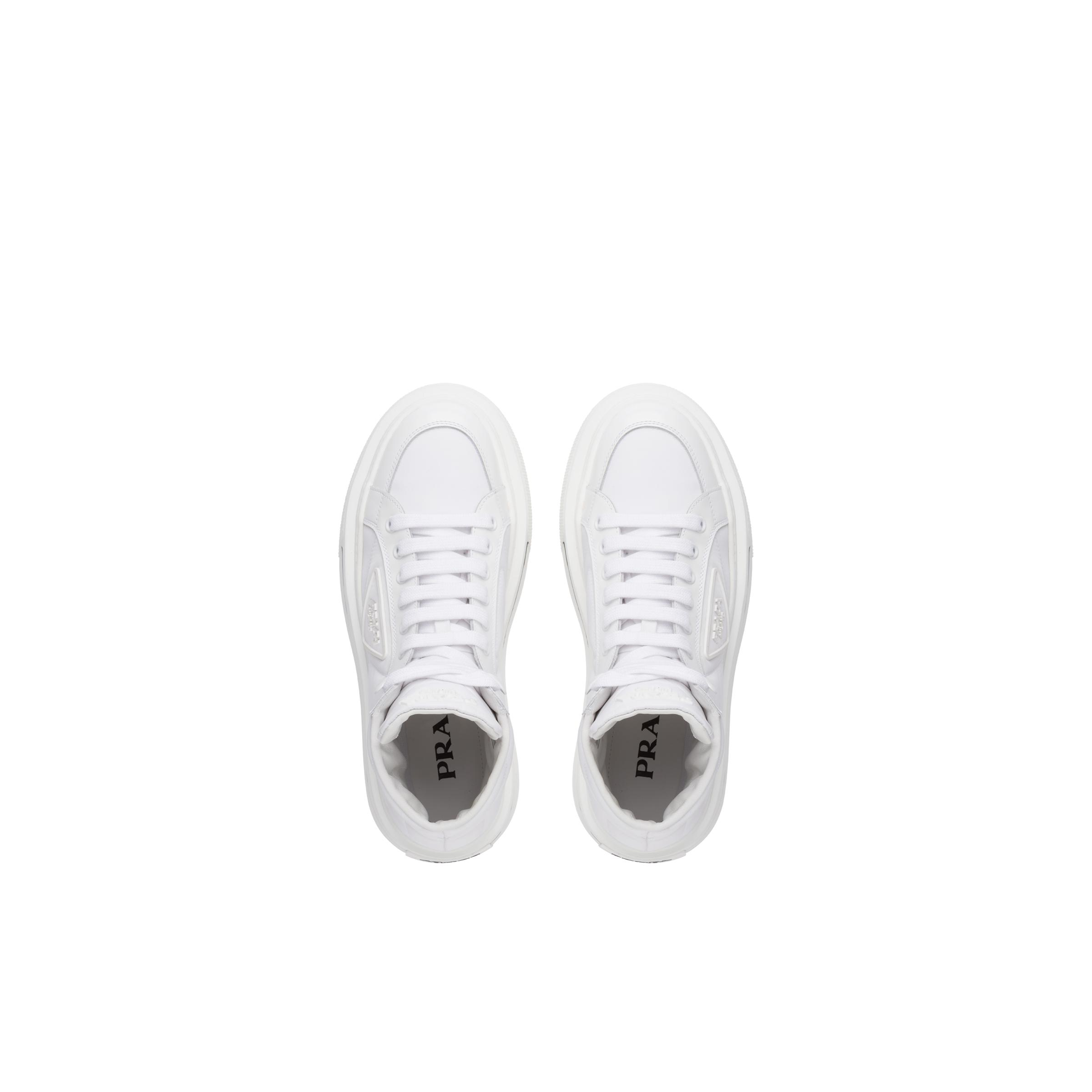 Macro Re-nylon And Brushed Leather High-top Sneakers Women White 1