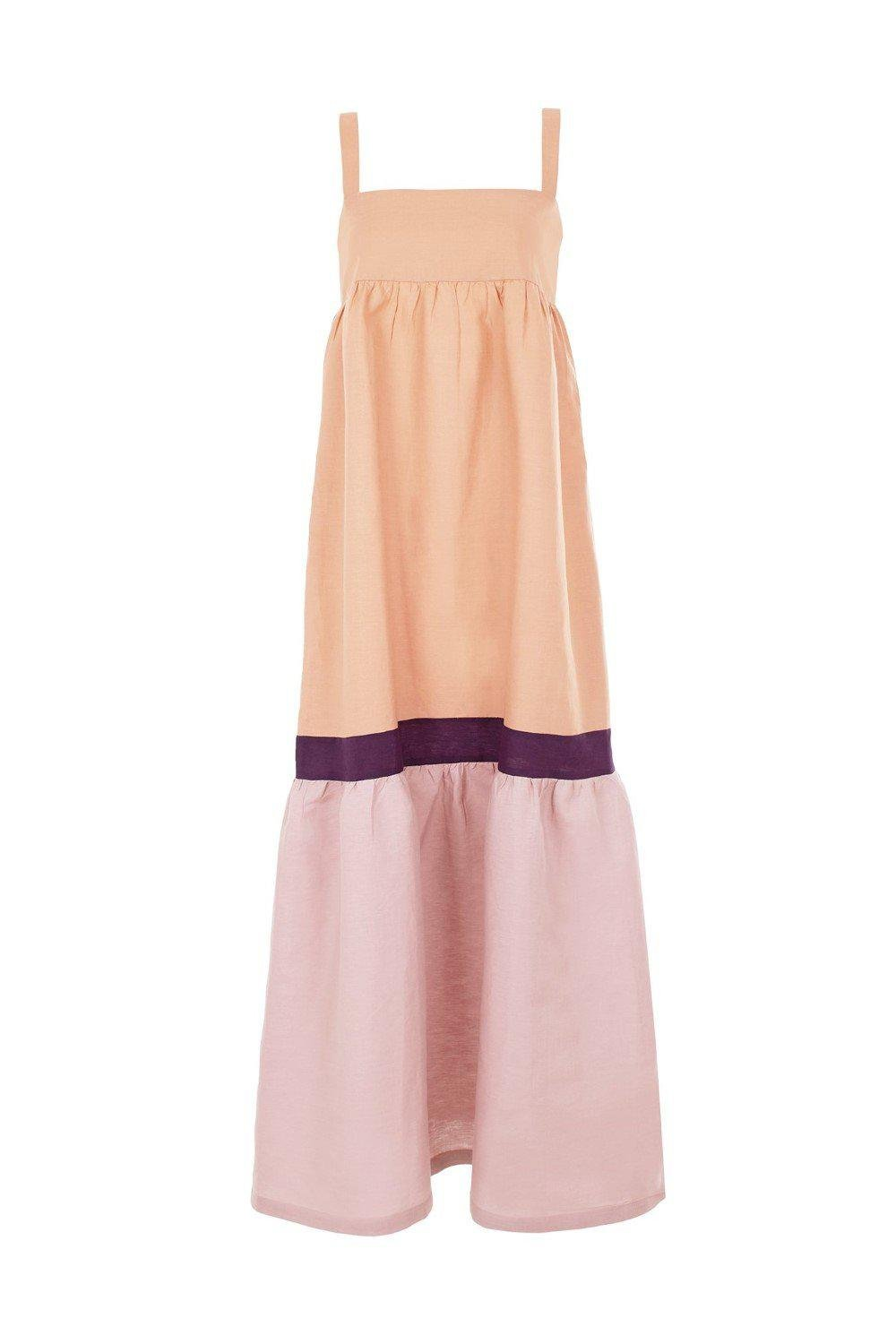 Fig Tricolor Long Dress with Straps 3