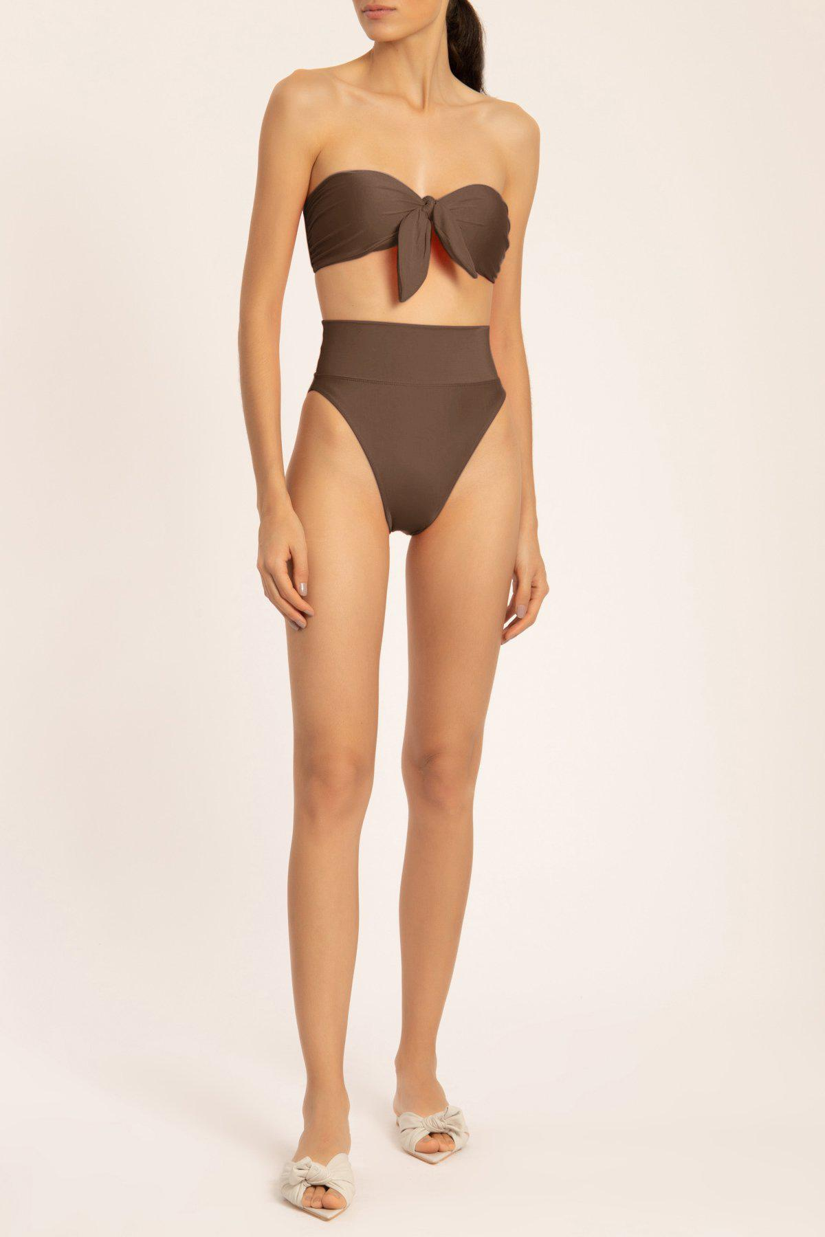Solid High-leg Strapless Bikini With Knot