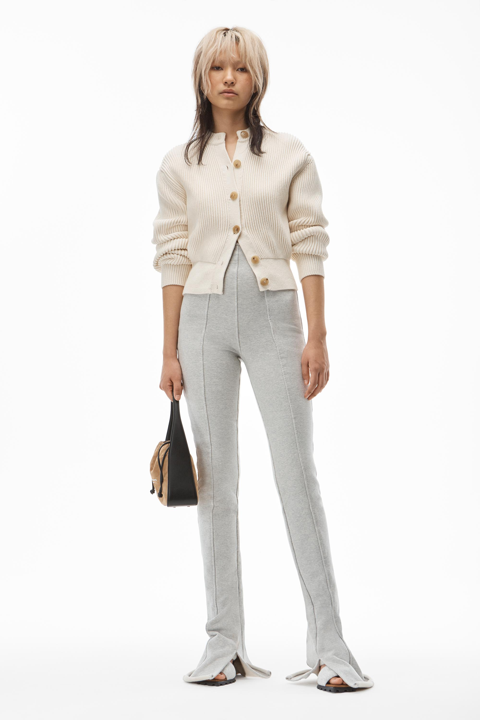 crewneck cardigan in ribbed cotton chainette 2