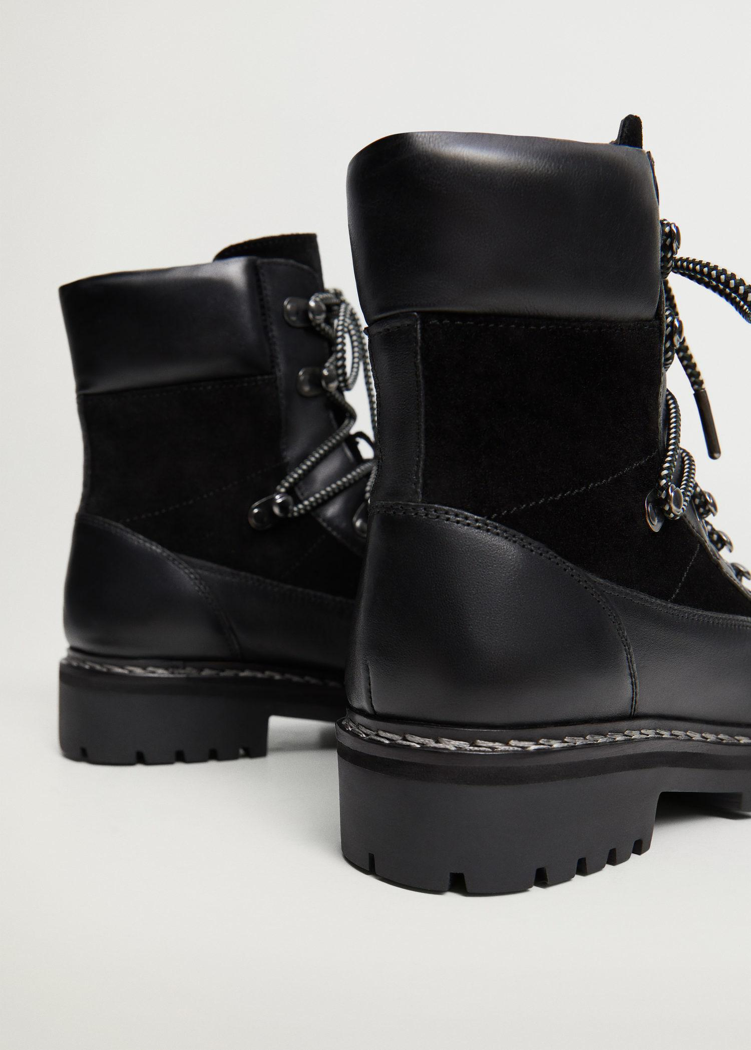 Contrast lace-up leather boots 2