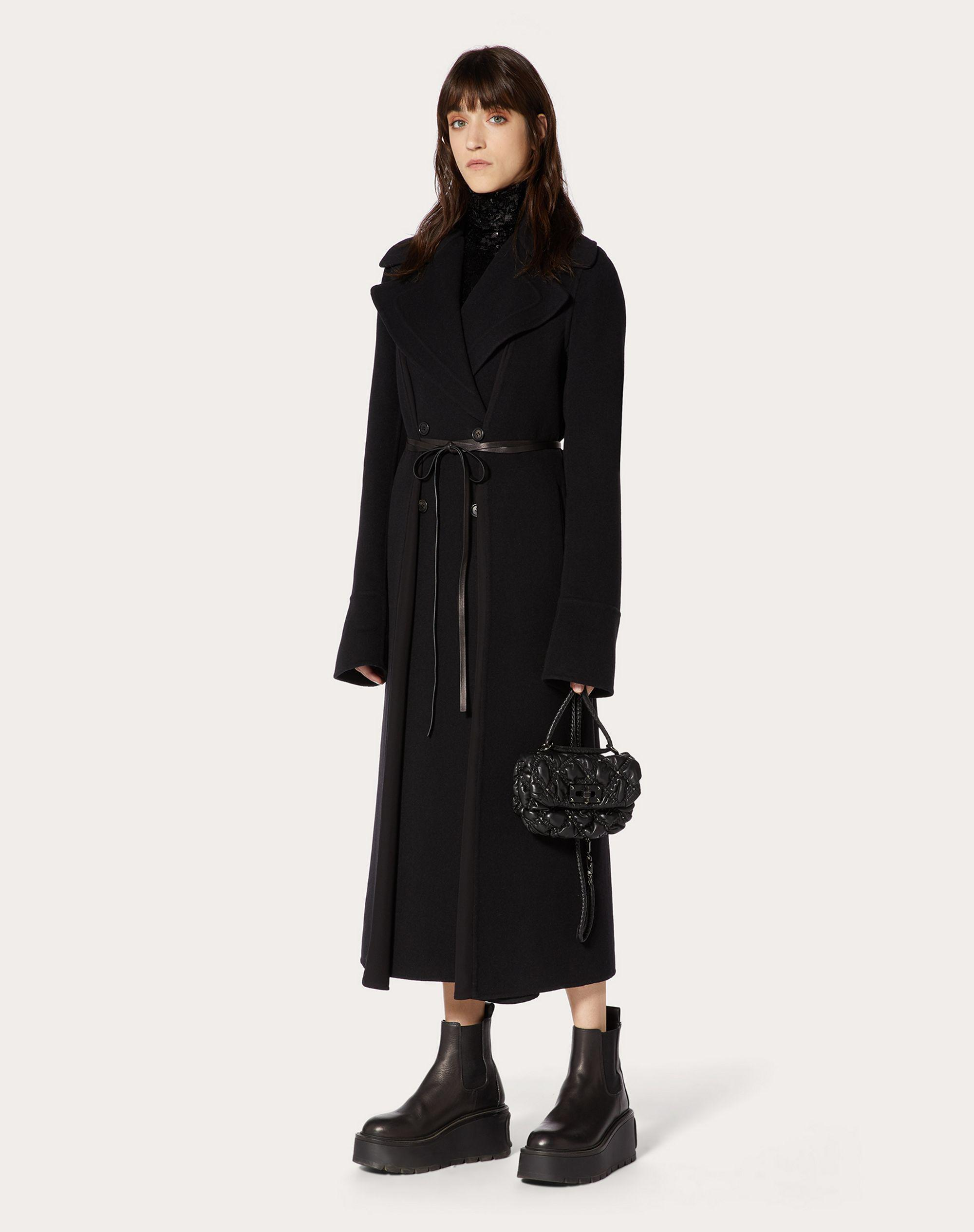 Double Drap Coat with Leather Detail