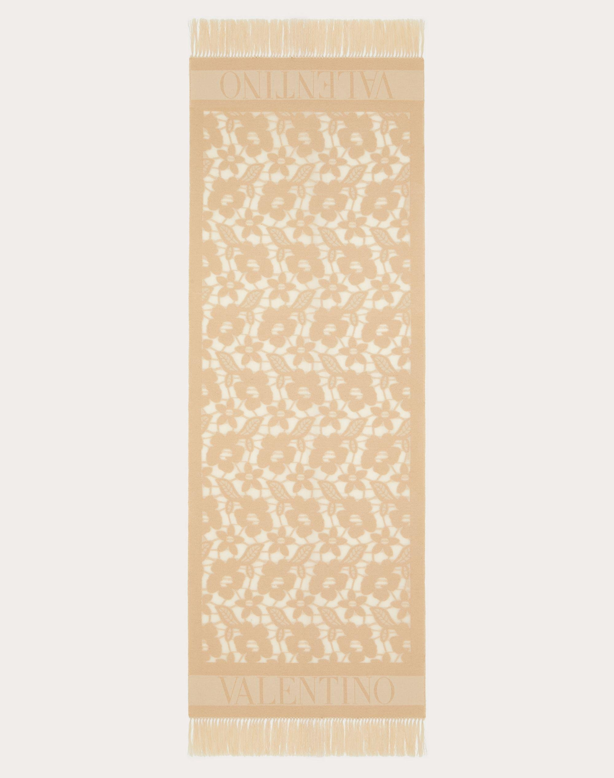 Cotton and silk stole with floral jacquard design 70x200 cm / 27.6x78.7 in.