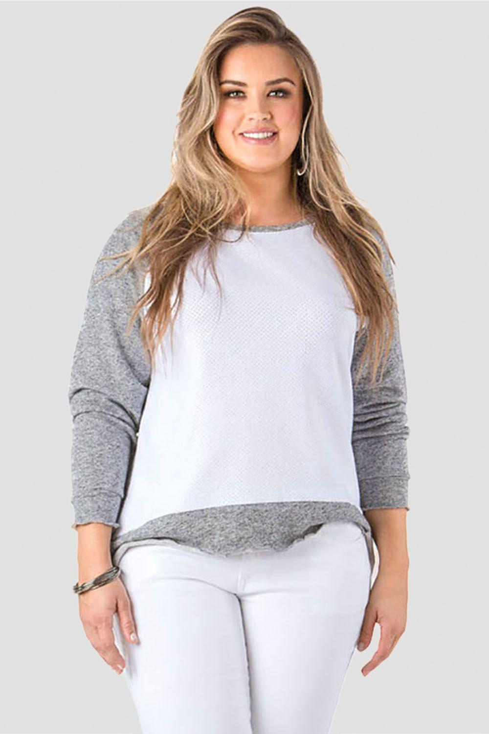 Plus Size Neesa Arm Patch French Terry Long Sleeve Mesh Top
