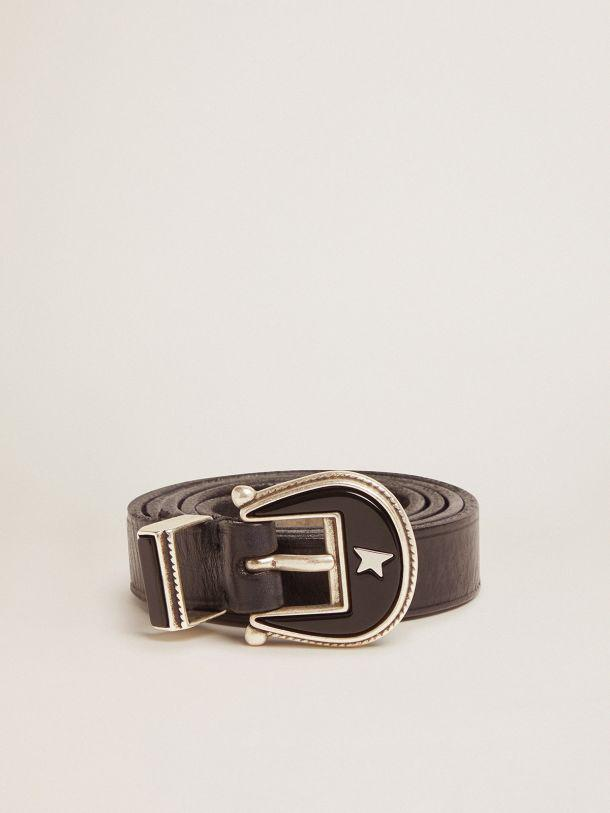 Black leather Rodeo belt with tone-on-tone buckle