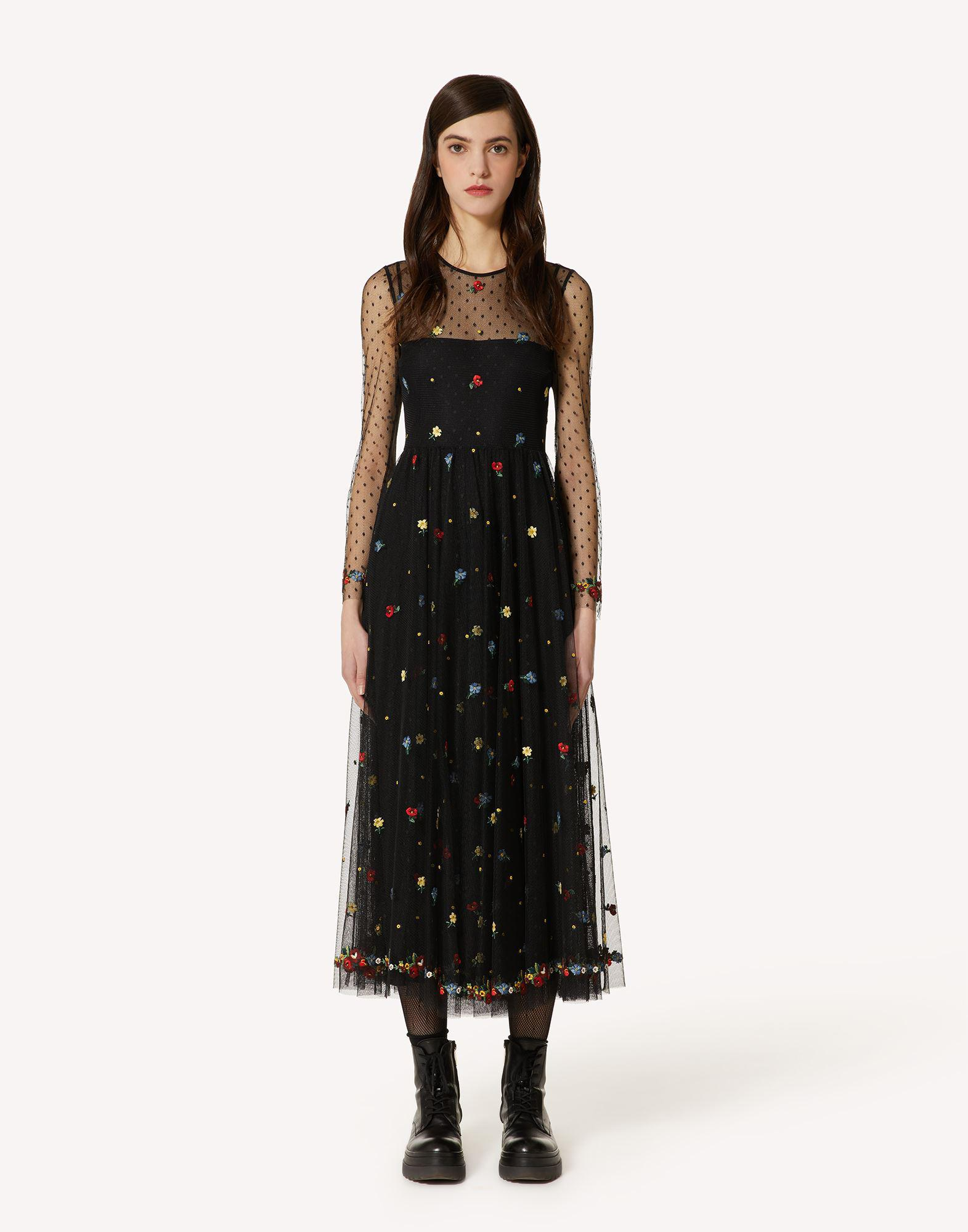 DELICATE FLOWERS EMBROIDERED POINT D'ESPRIT TULLE DRESS