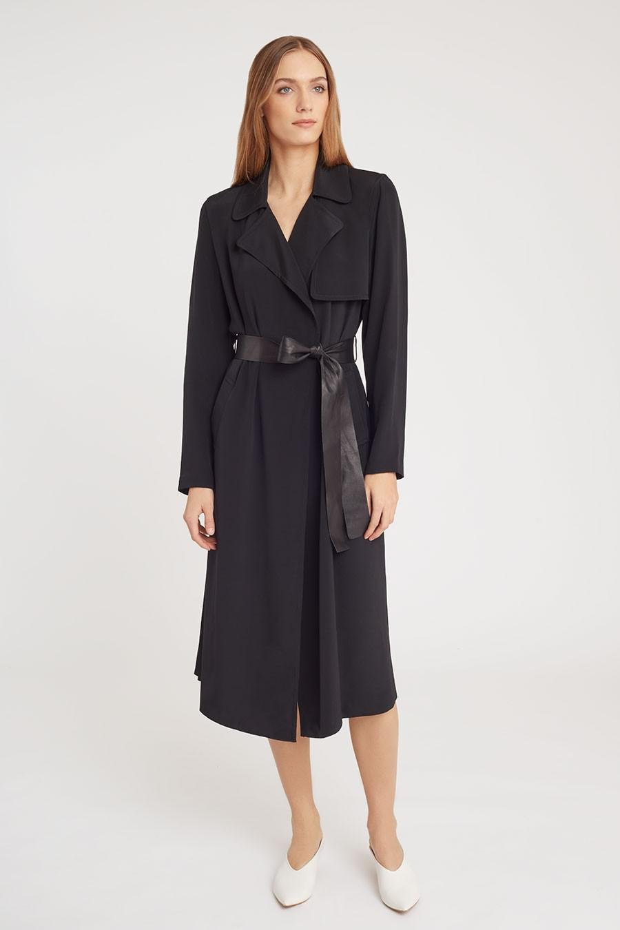 Women's Silk Classic Trench in Black | Size: 3