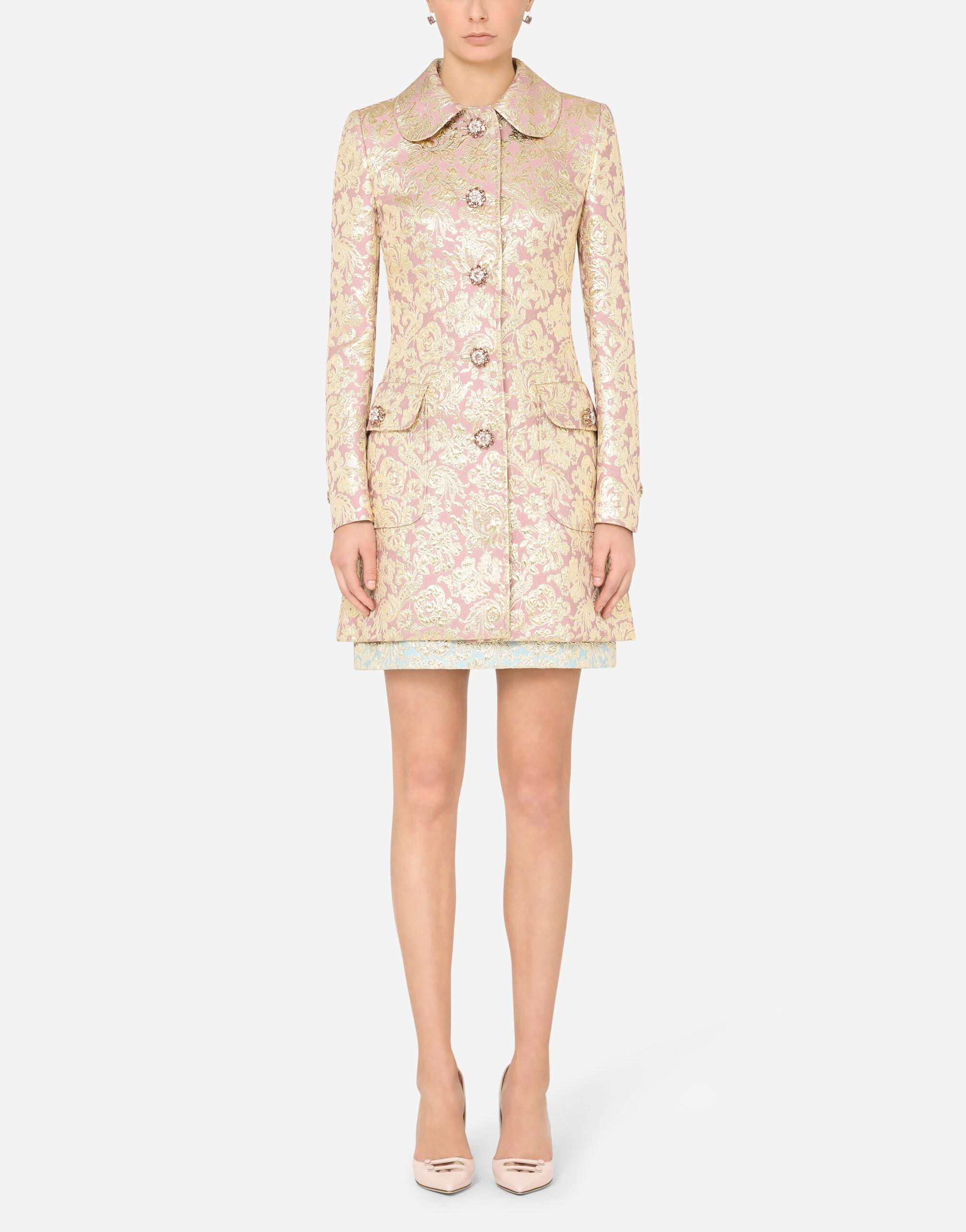 Lamé jacquard coat with bejeweled buttons