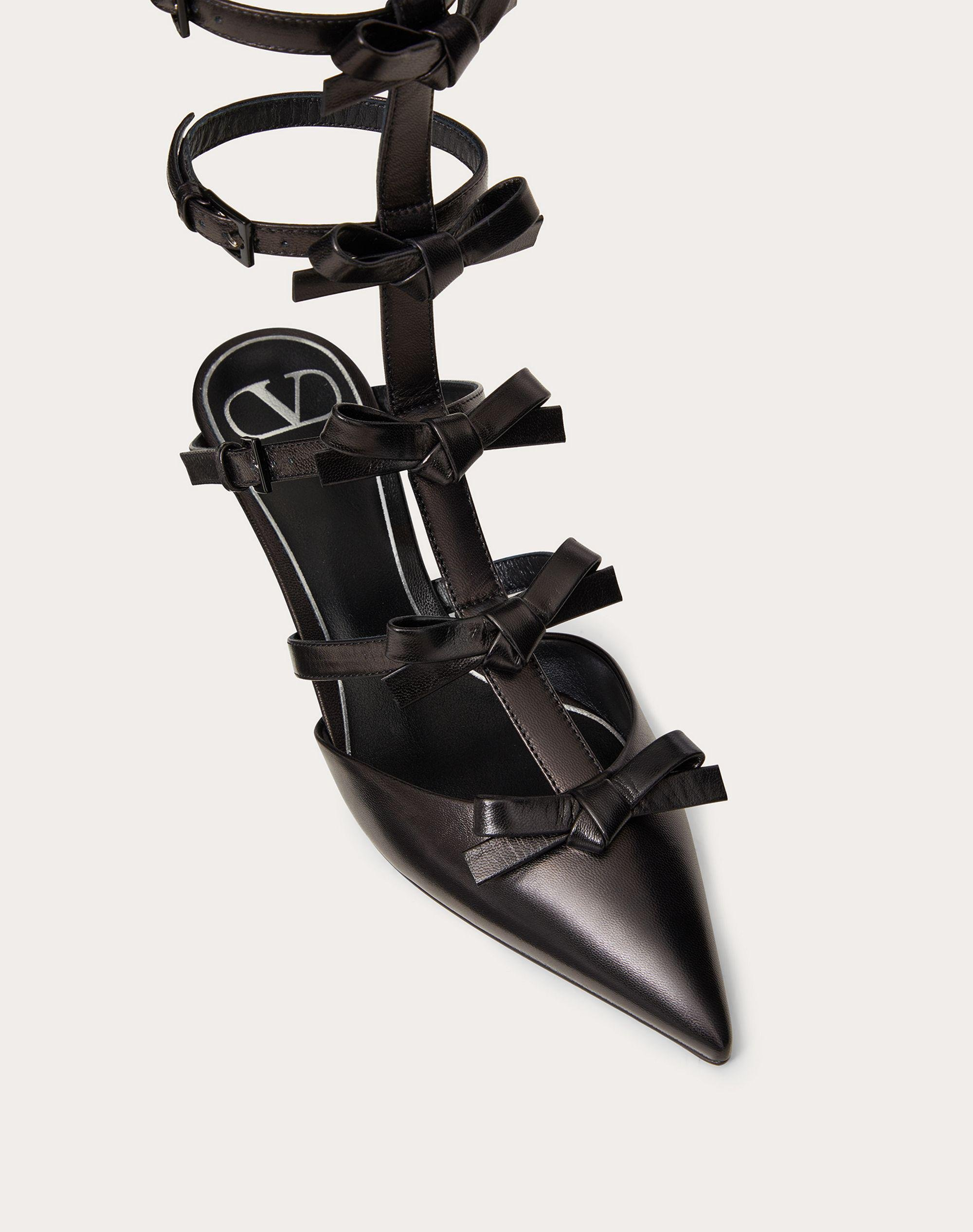ANKLE STRAP PUMP WITH KIDSKIN FRENCH BOWS  40 MM 4