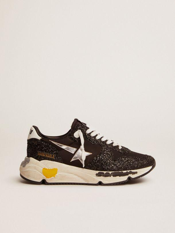Running Sole sneakers in black nylon and glitter with silver laminated leather star