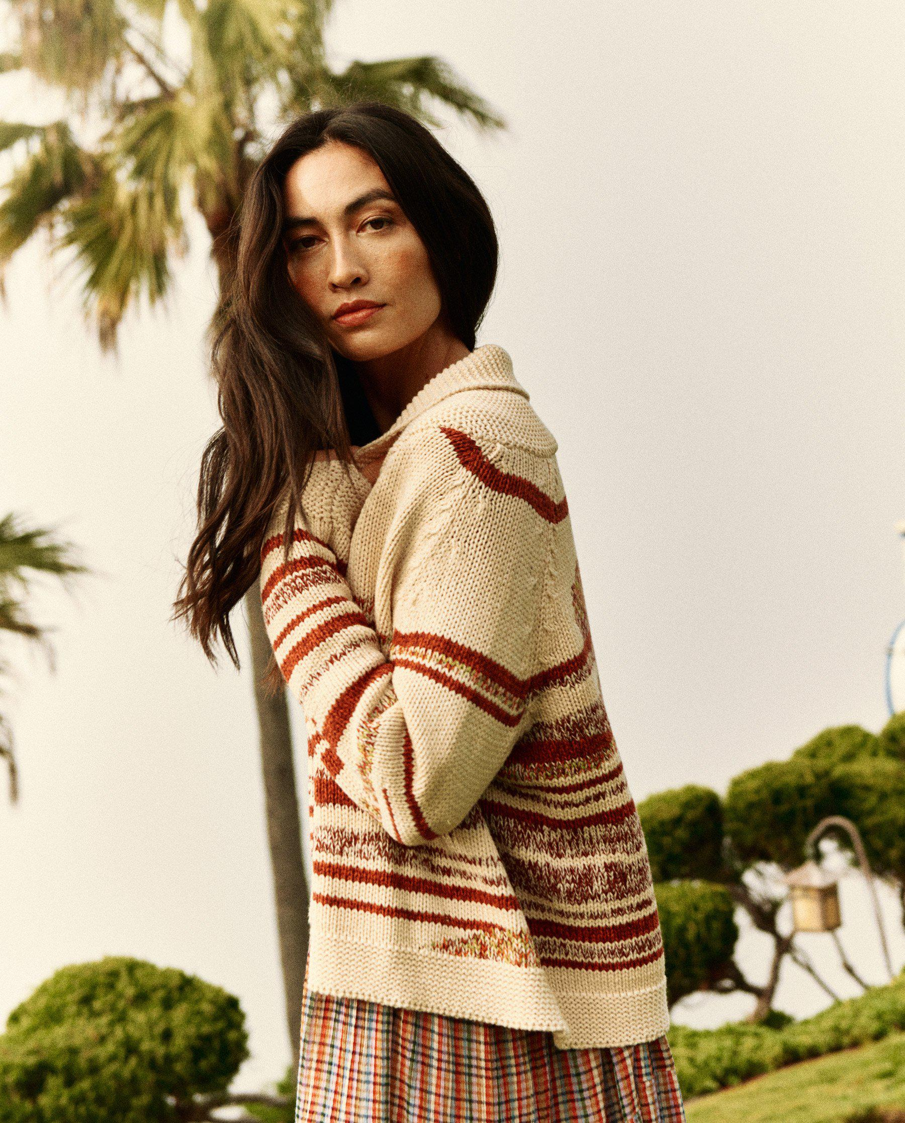 The Landscape Lodge Cardigan. -- Cream with Red Marl 3