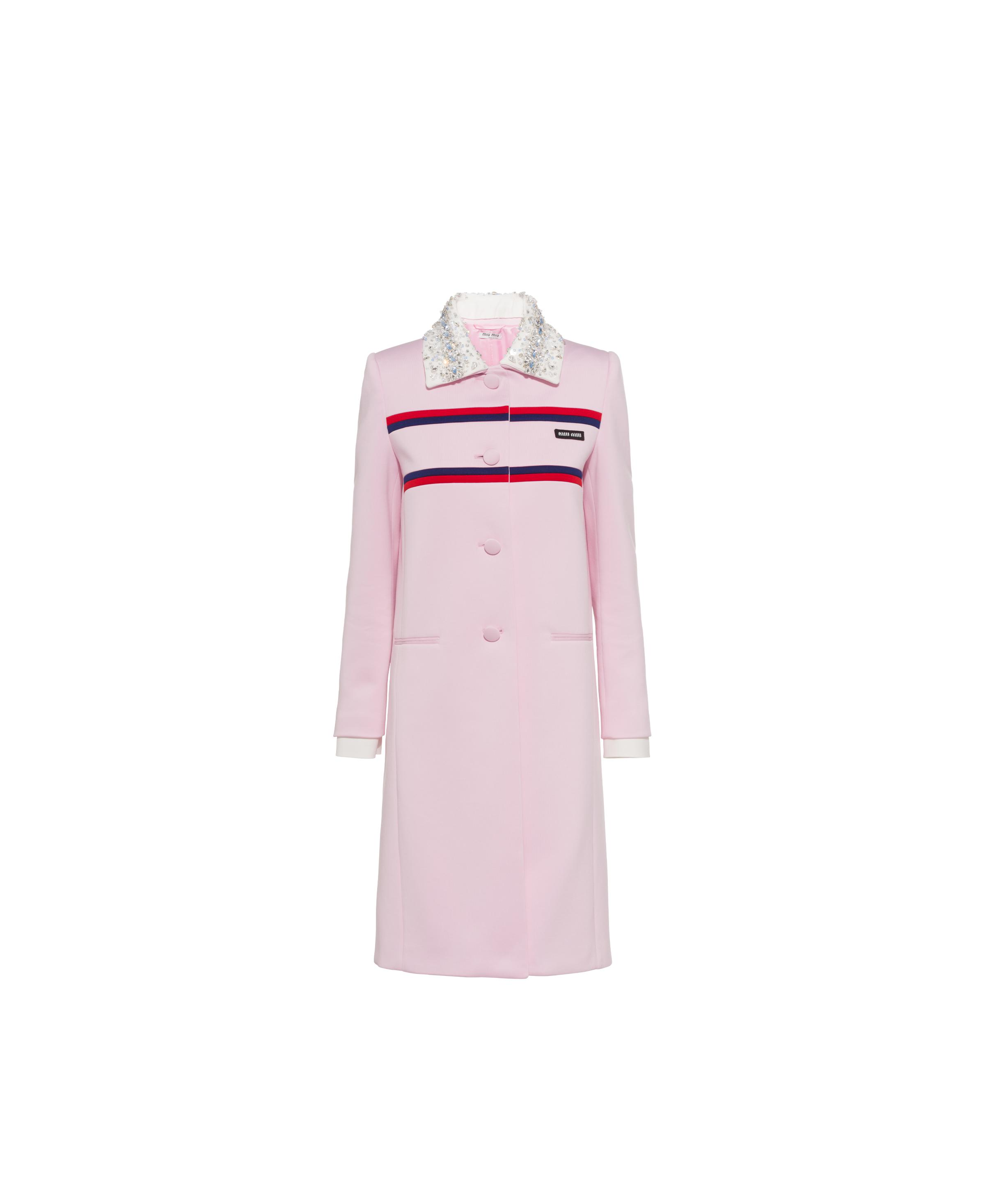 Single-breasted Embroidered Lux Fleece Coat Women Pink/red