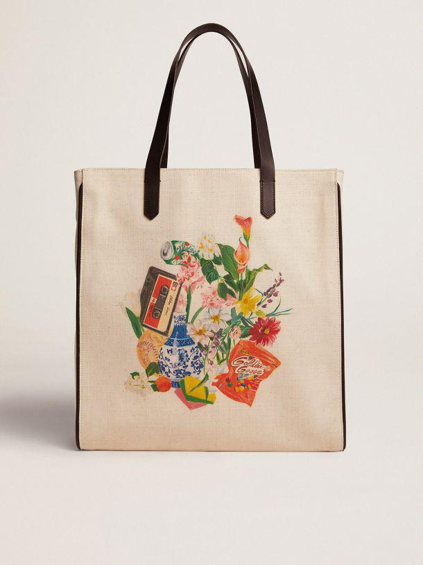 North-South California Bag with contrasting collage print