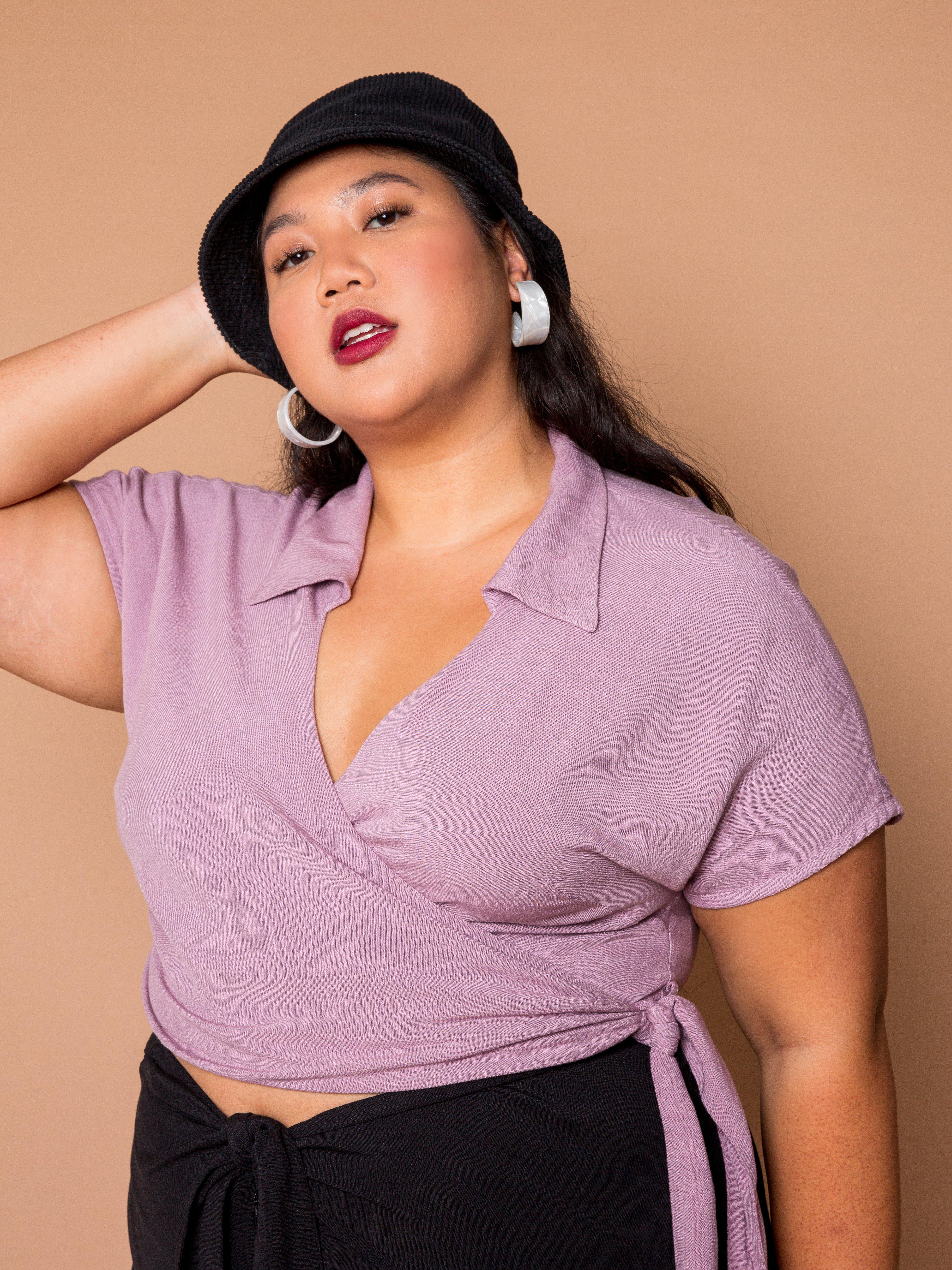 THE BOWLER WRAP TOP ~ Orchid