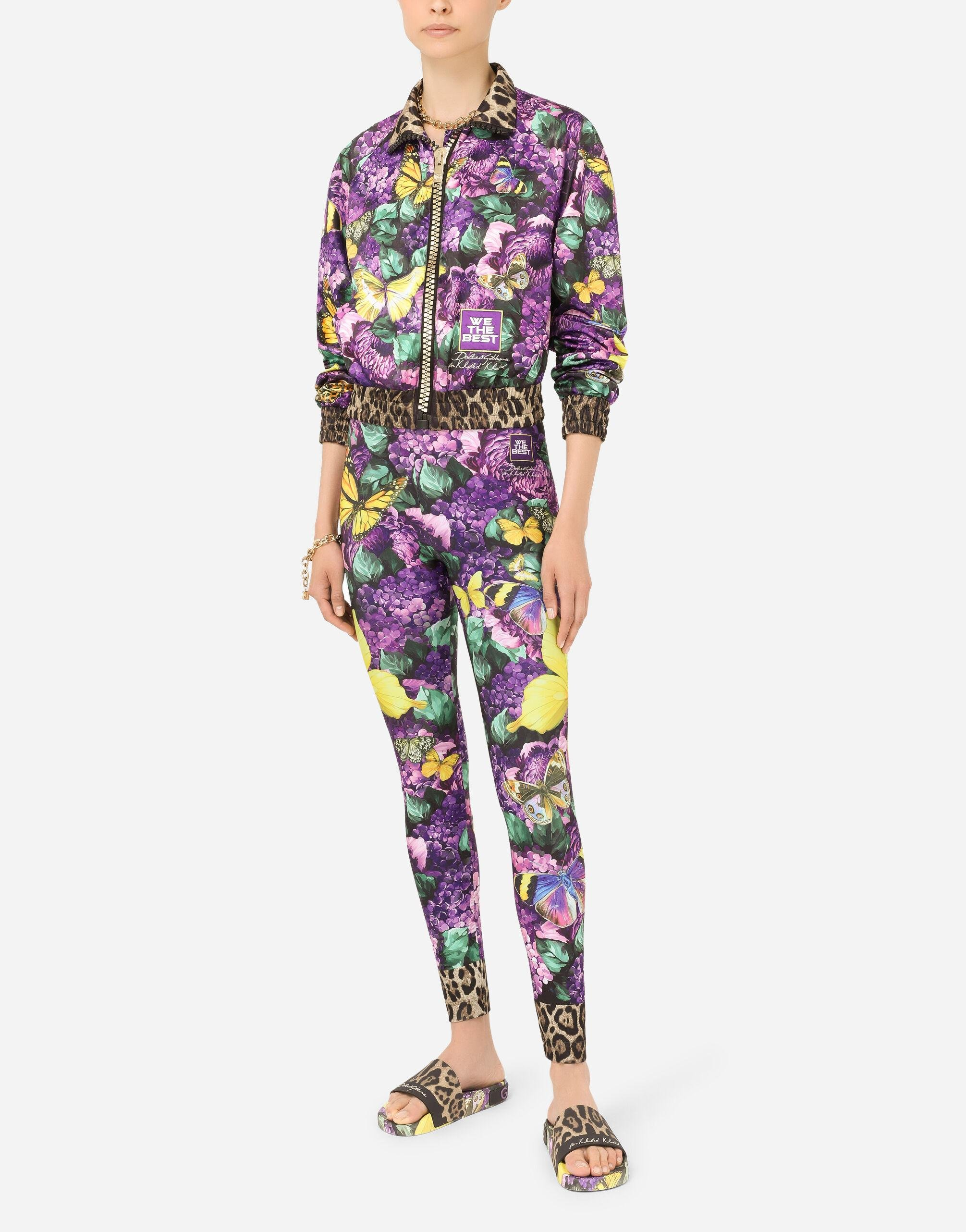 Cropped butterfly-print bomber jacket 7