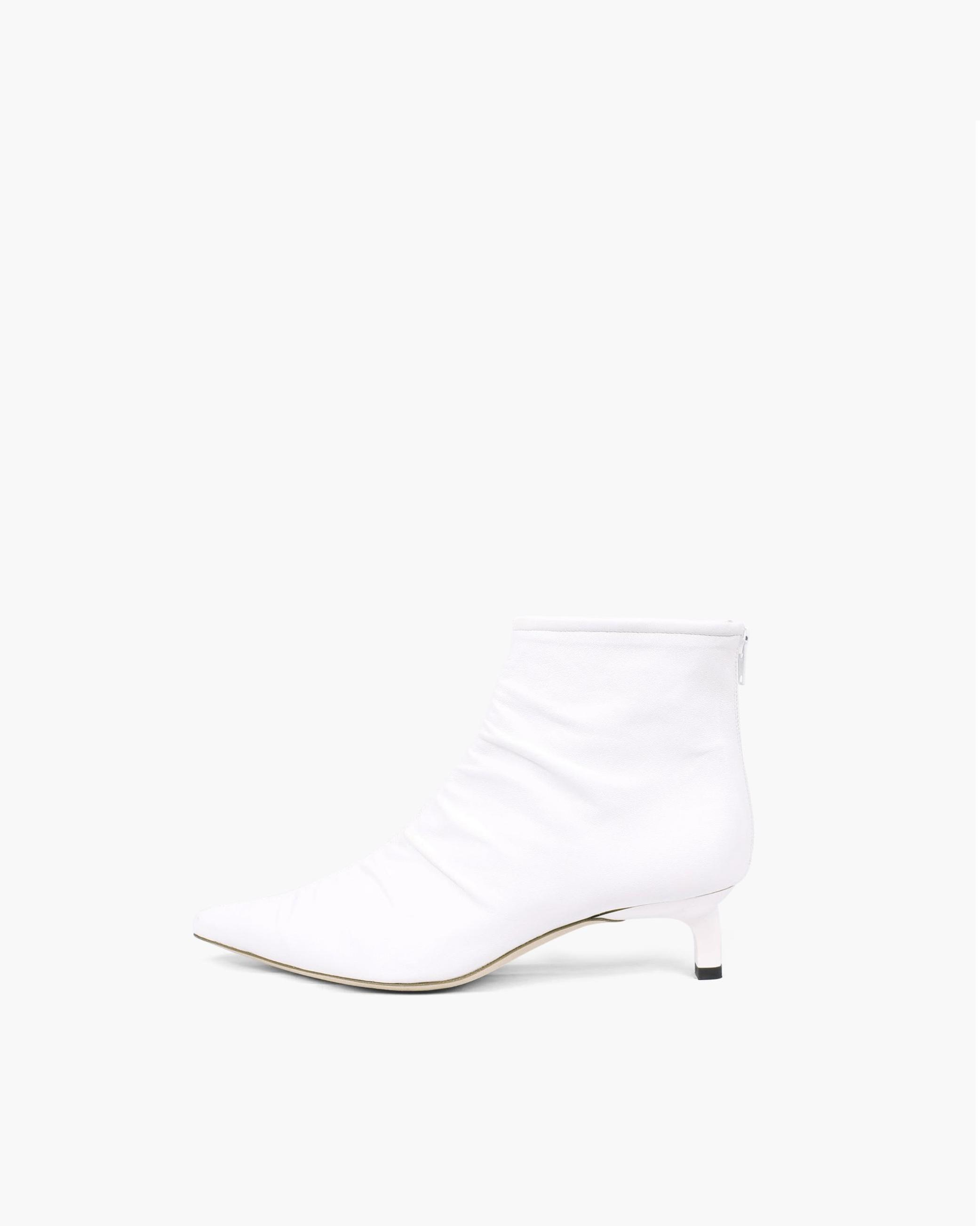 Erin Boots Leather Wrinkled White