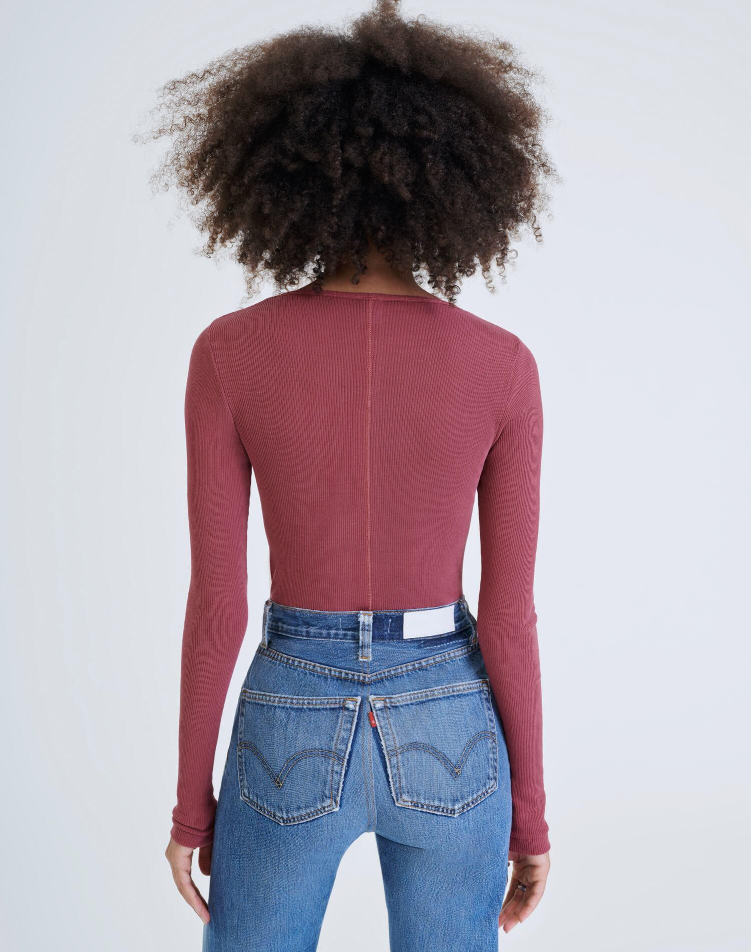60s Ribbed Long Sleeve Bodysuit - Natural Berry 4