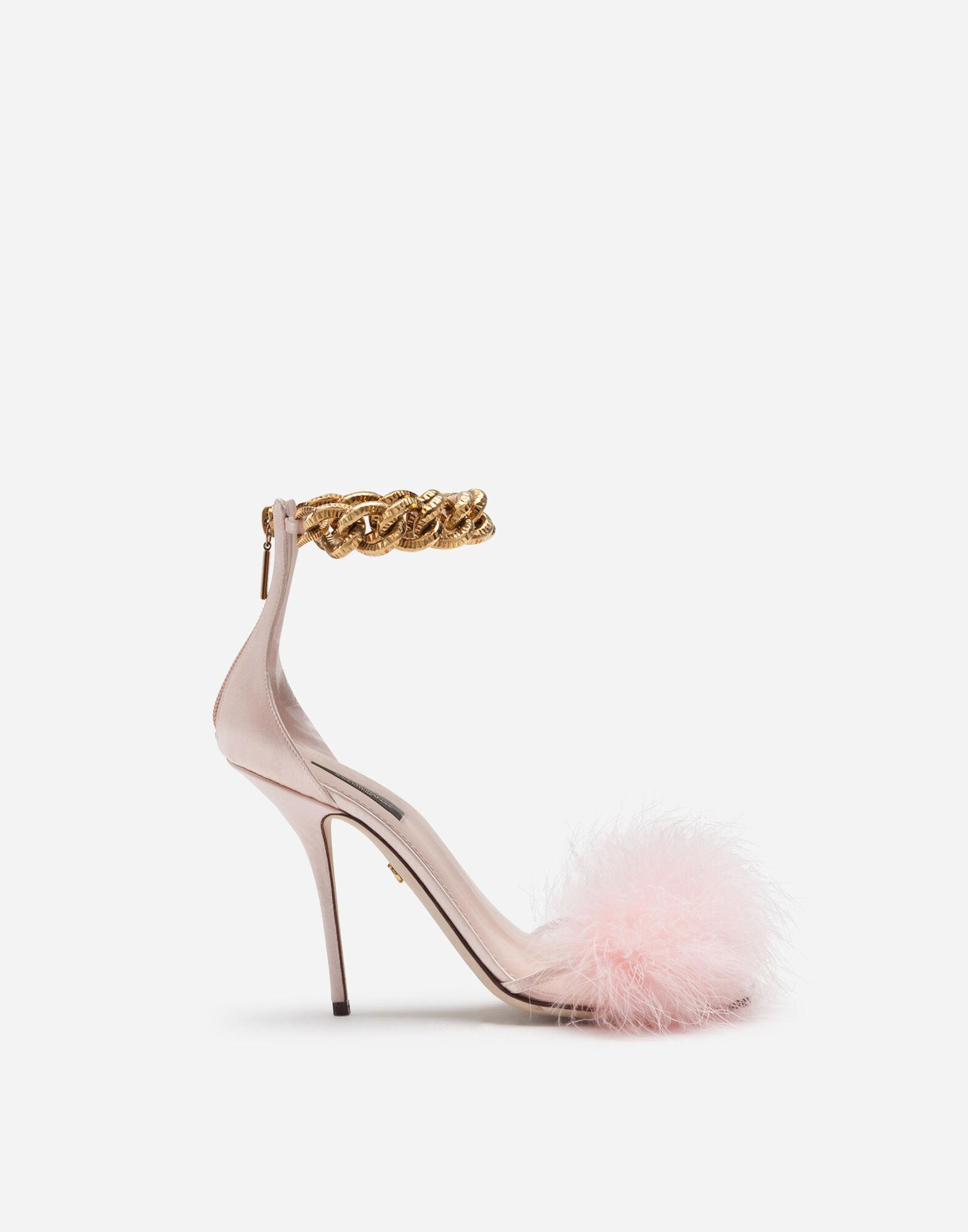 Marabou sandals with chain embellishment