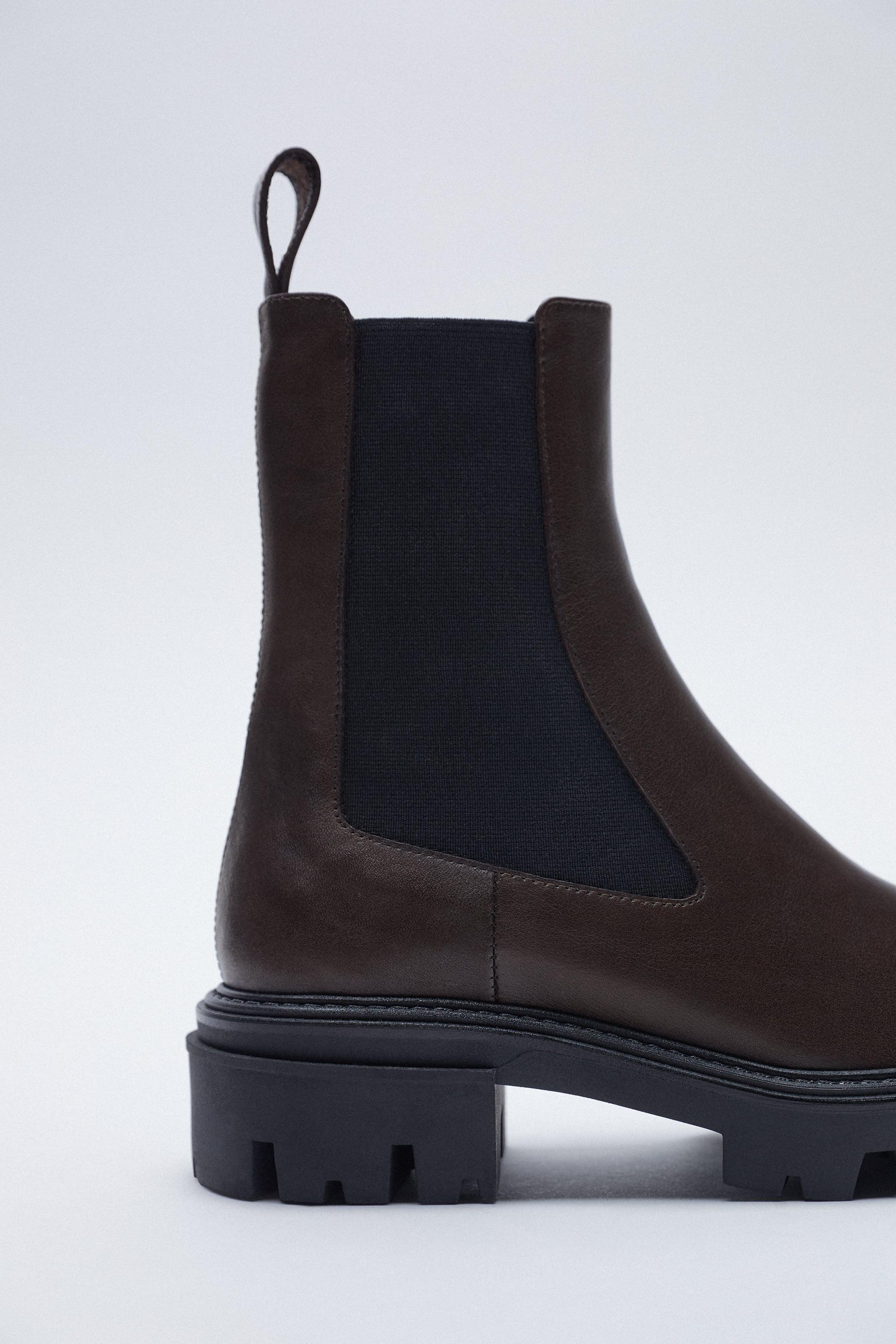 LOW HEEL LEATHER ANKLE BOOTS WITH ELASTIC GORING 4