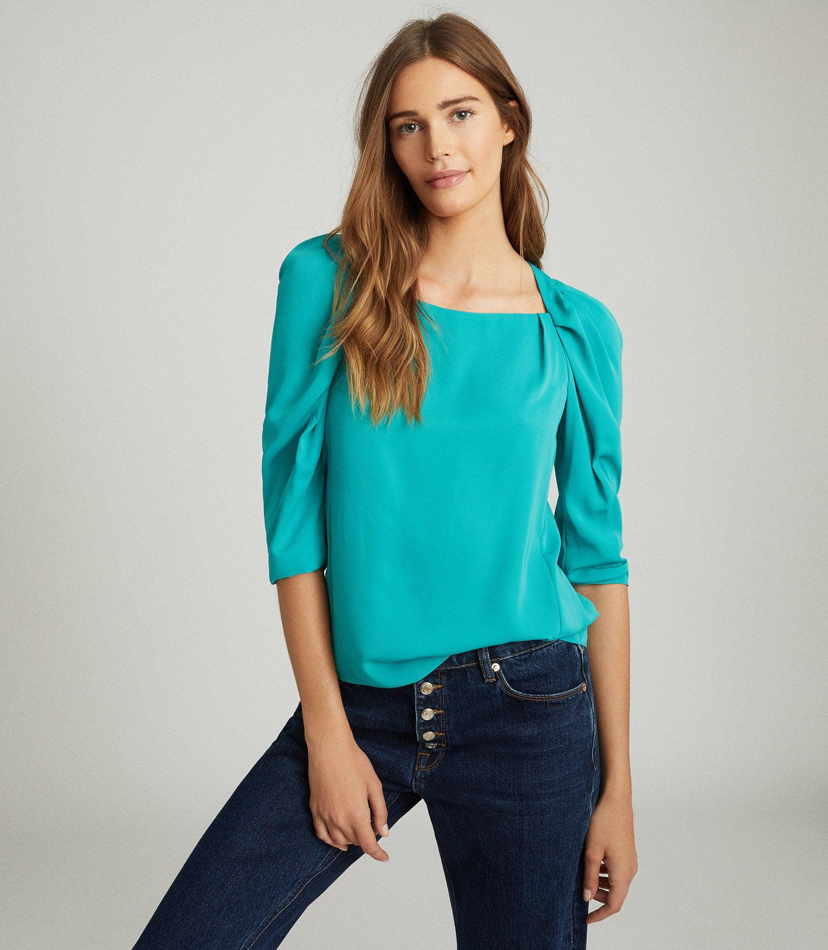 ISABELLE - RUCHED SLEEVE STRAIGHT NECK TOP