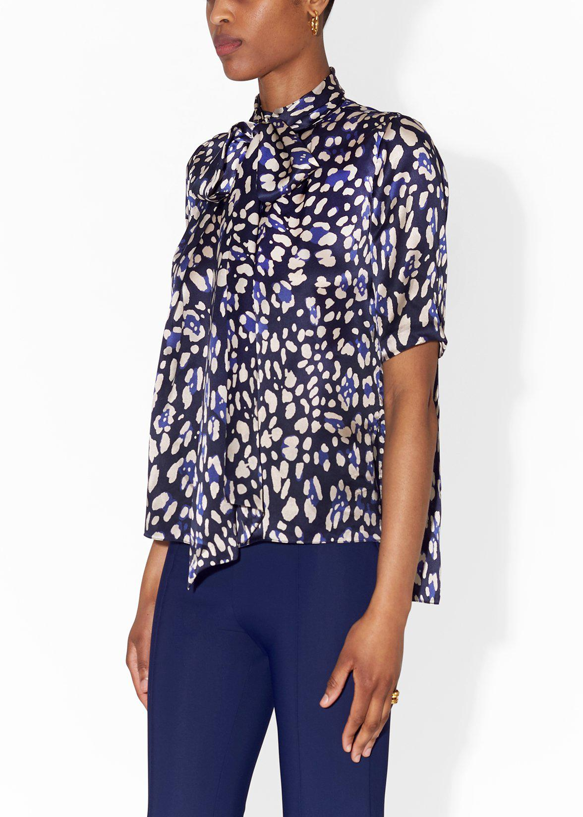 PLEAT NECK BLOUSE IN PRINTED CHARMEUSE