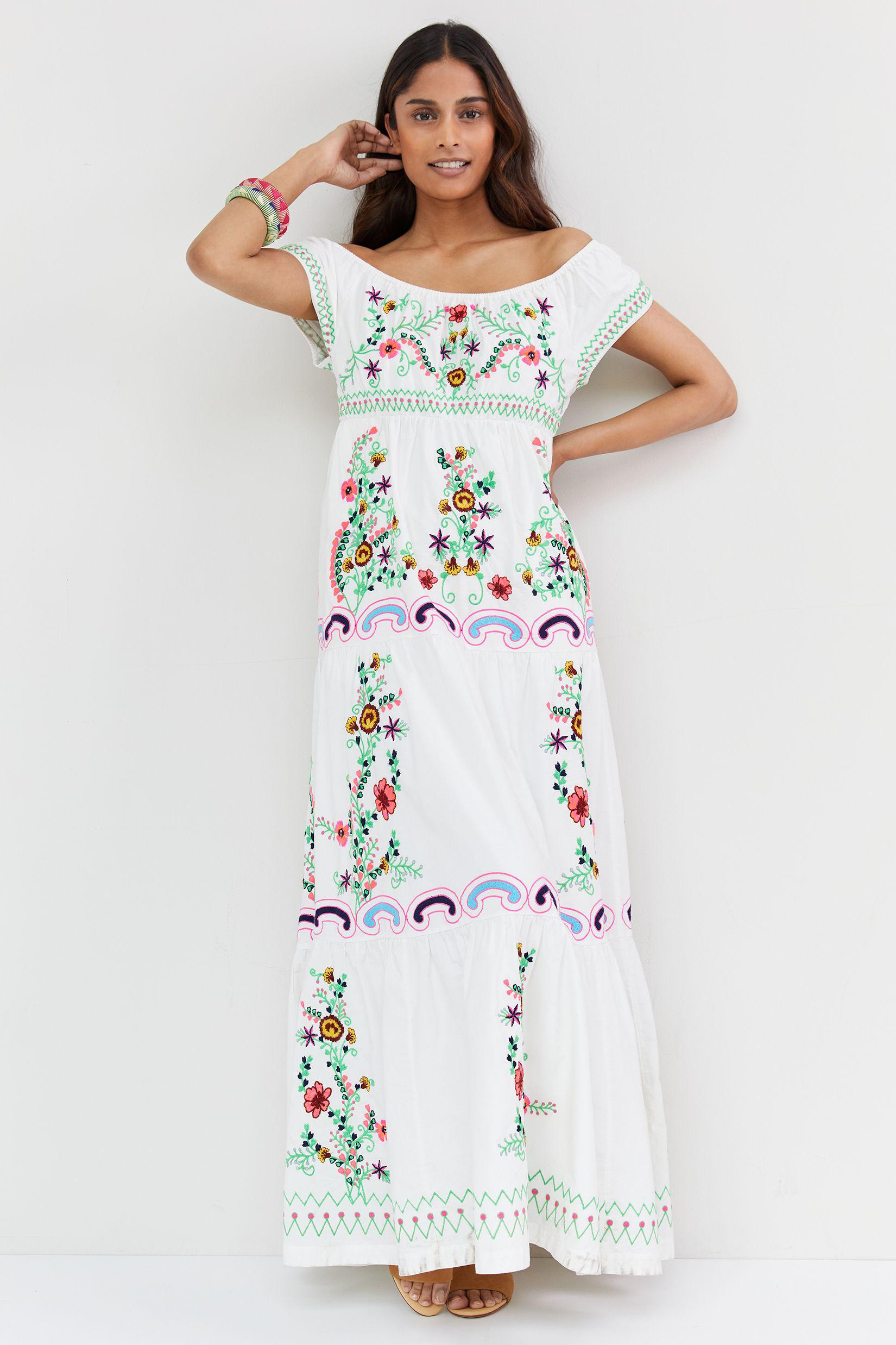 Embroidered Off-The-Shoulder Maxi Dress