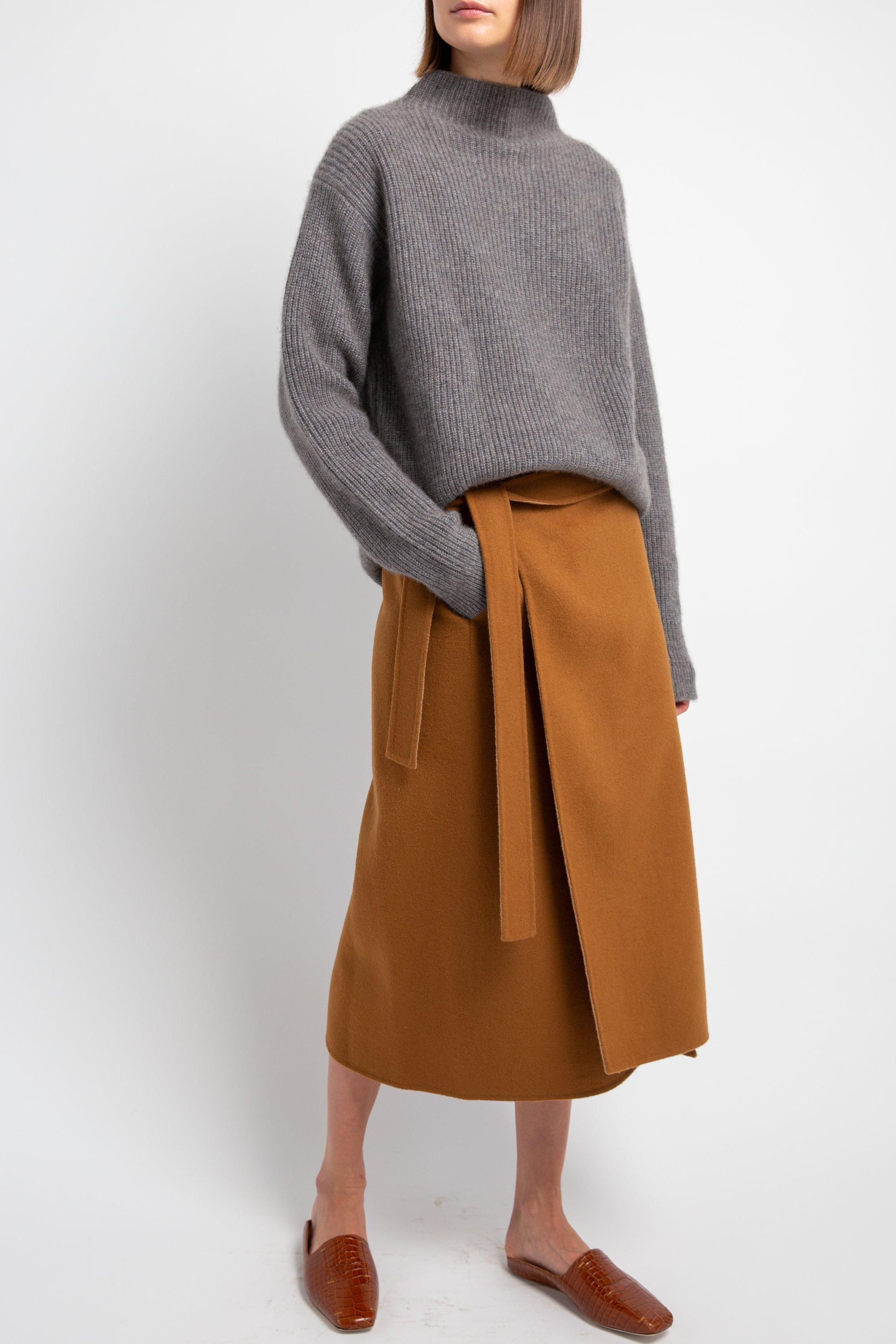 Camel Double-Faced Wool Skirt 1
