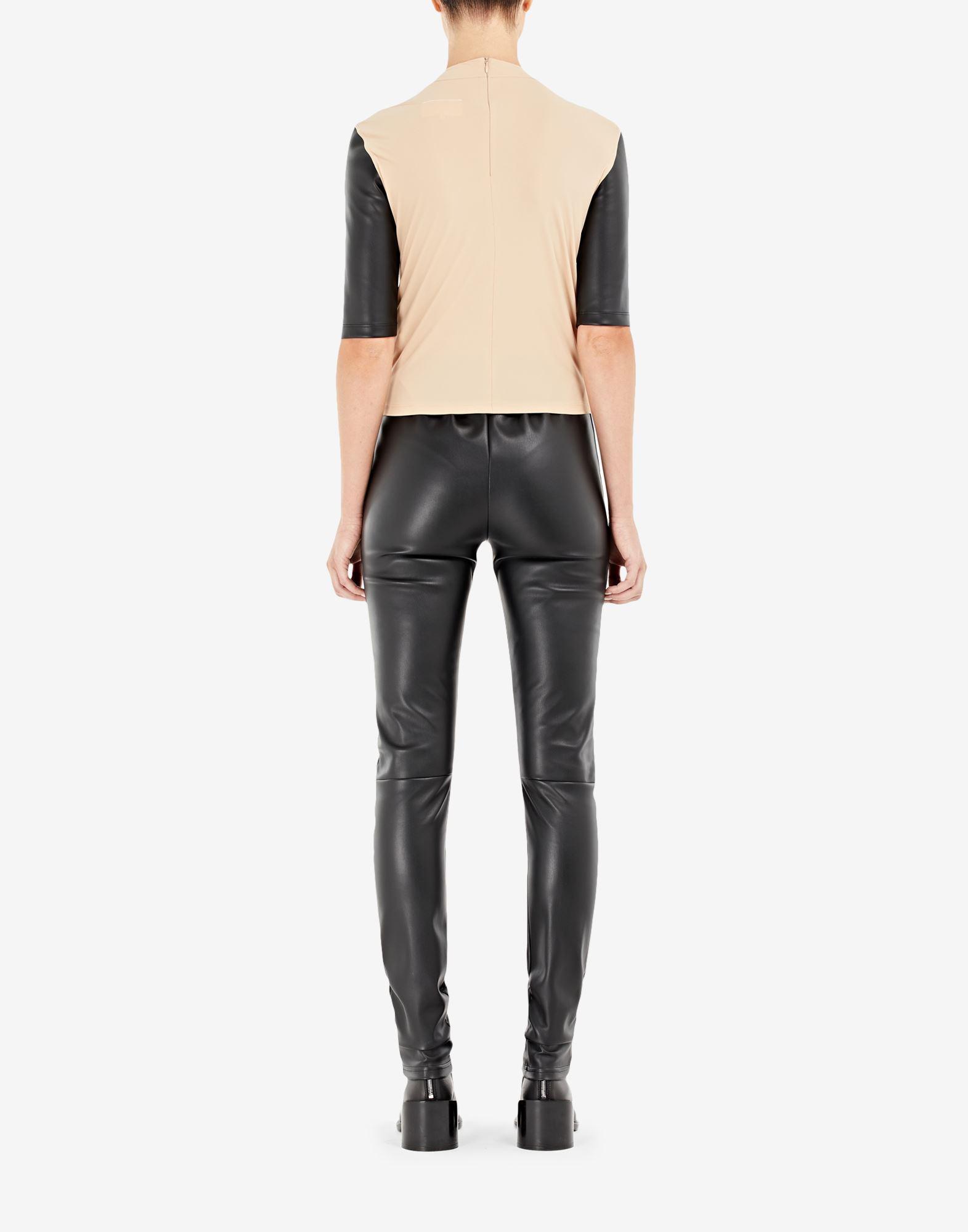 Spliced faux leather top 2