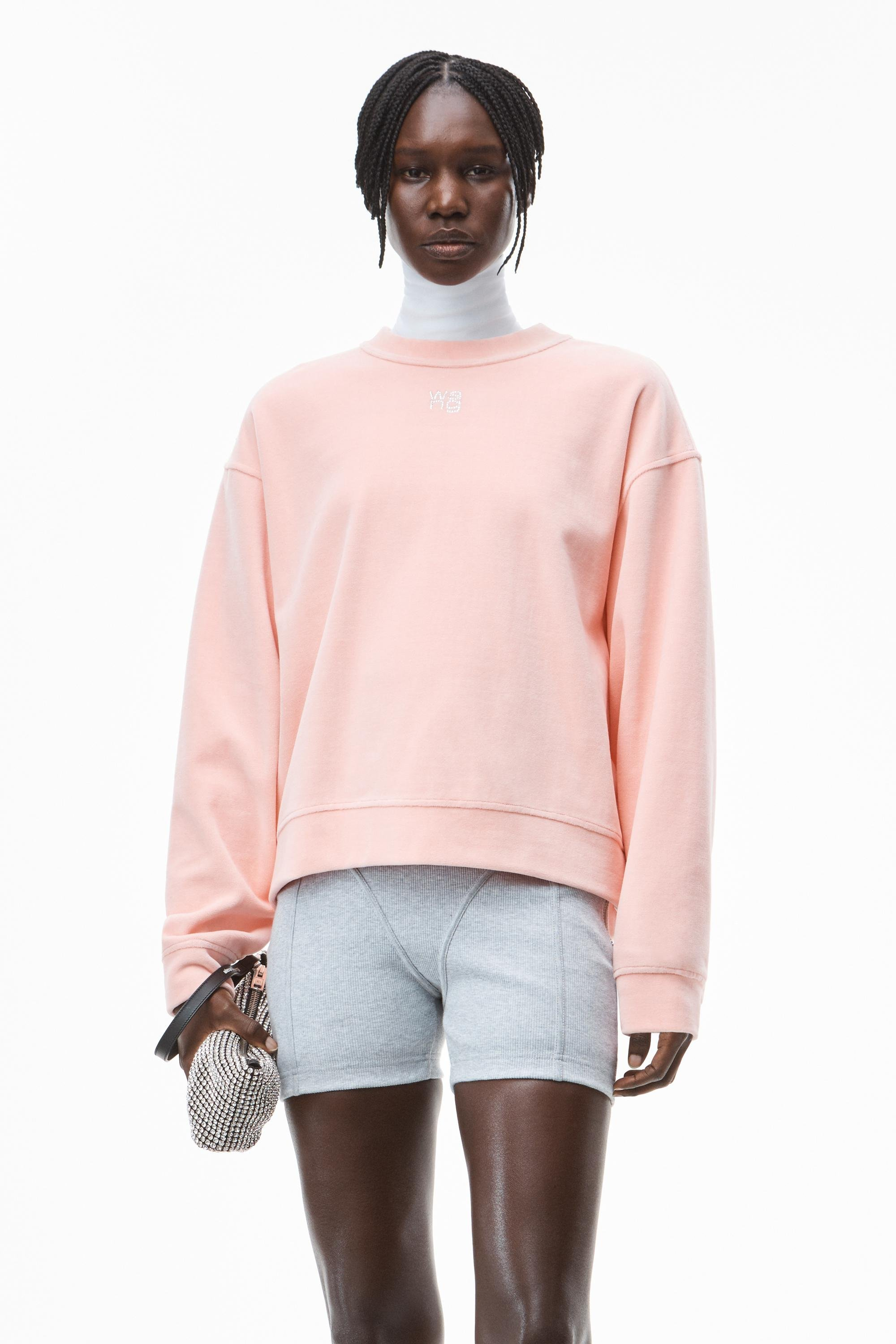 crystal logo pullover in soft velour