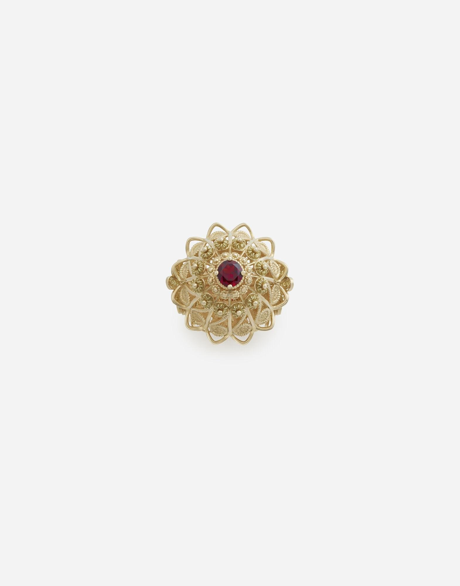 Pizzo ring in yellow gold and rhodolite garnet