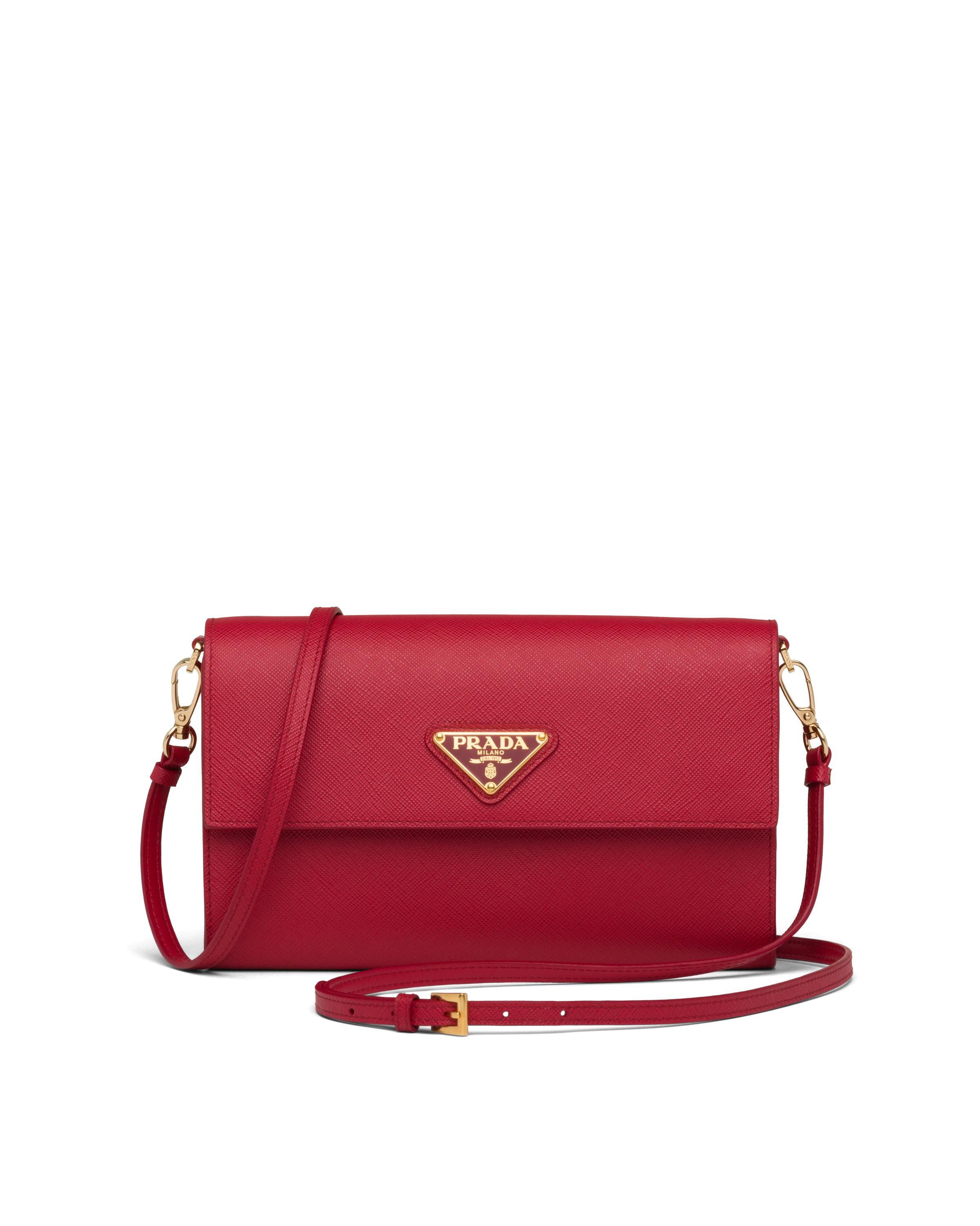 Saffiano And Leather Wallet With Shoulder Strap Women Fiery Red 5