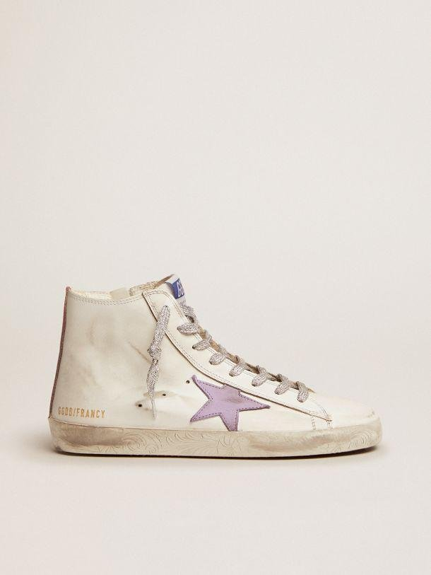 Francy sneakers with foxing with floral decorations and lavender-colored star