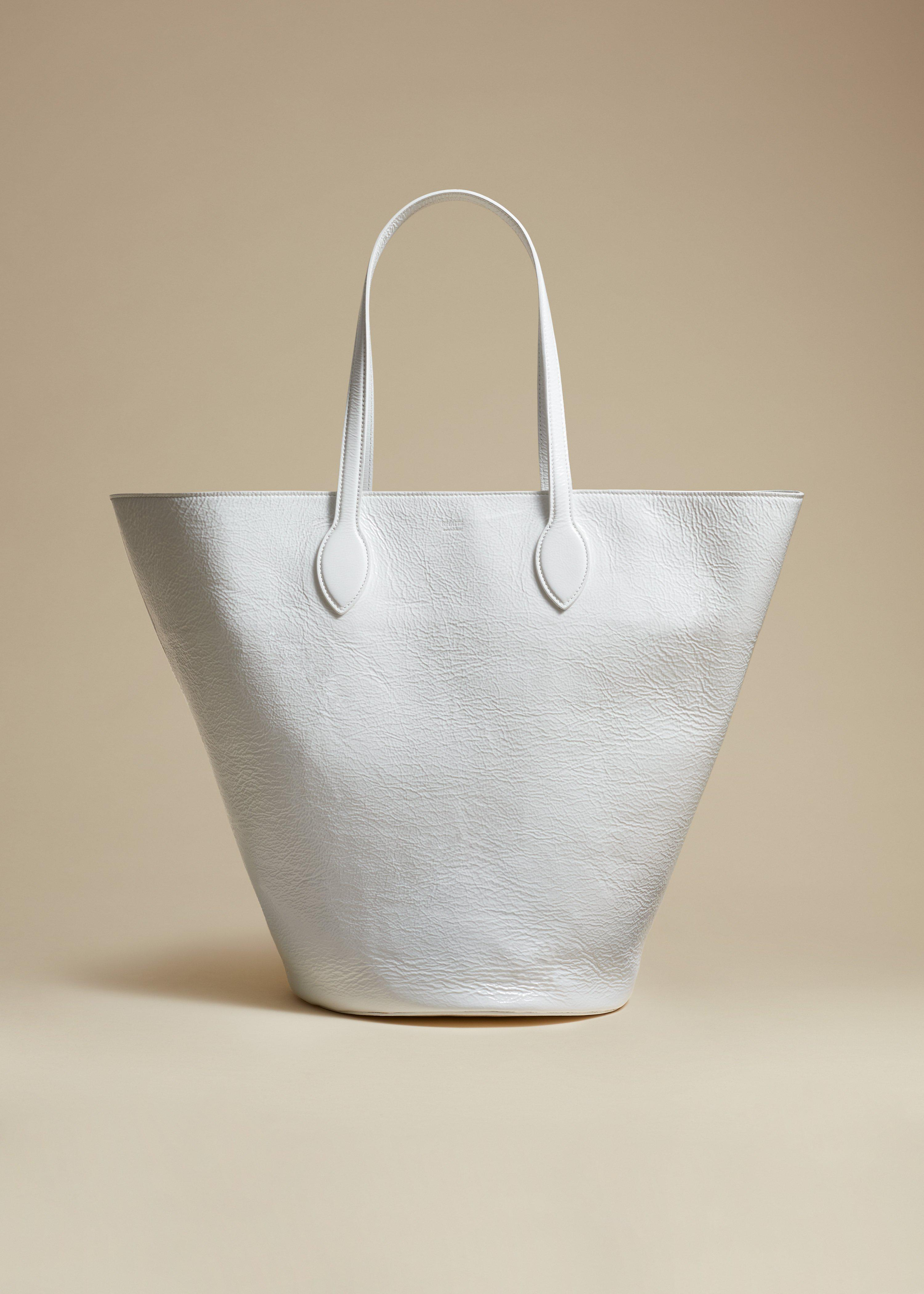 The Medium Osa Tote in White Patent Leather