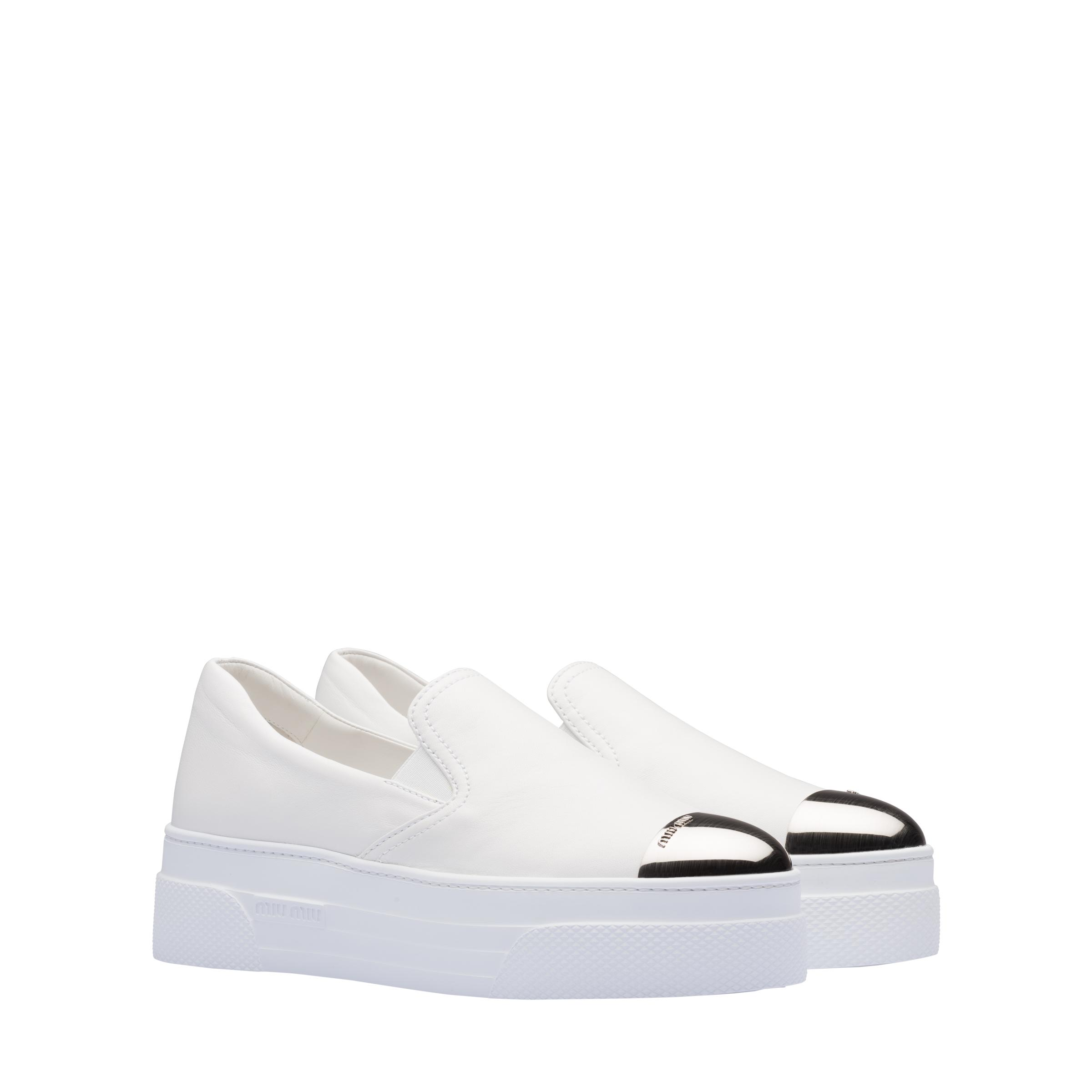 Nappa Leather Slippers Women White