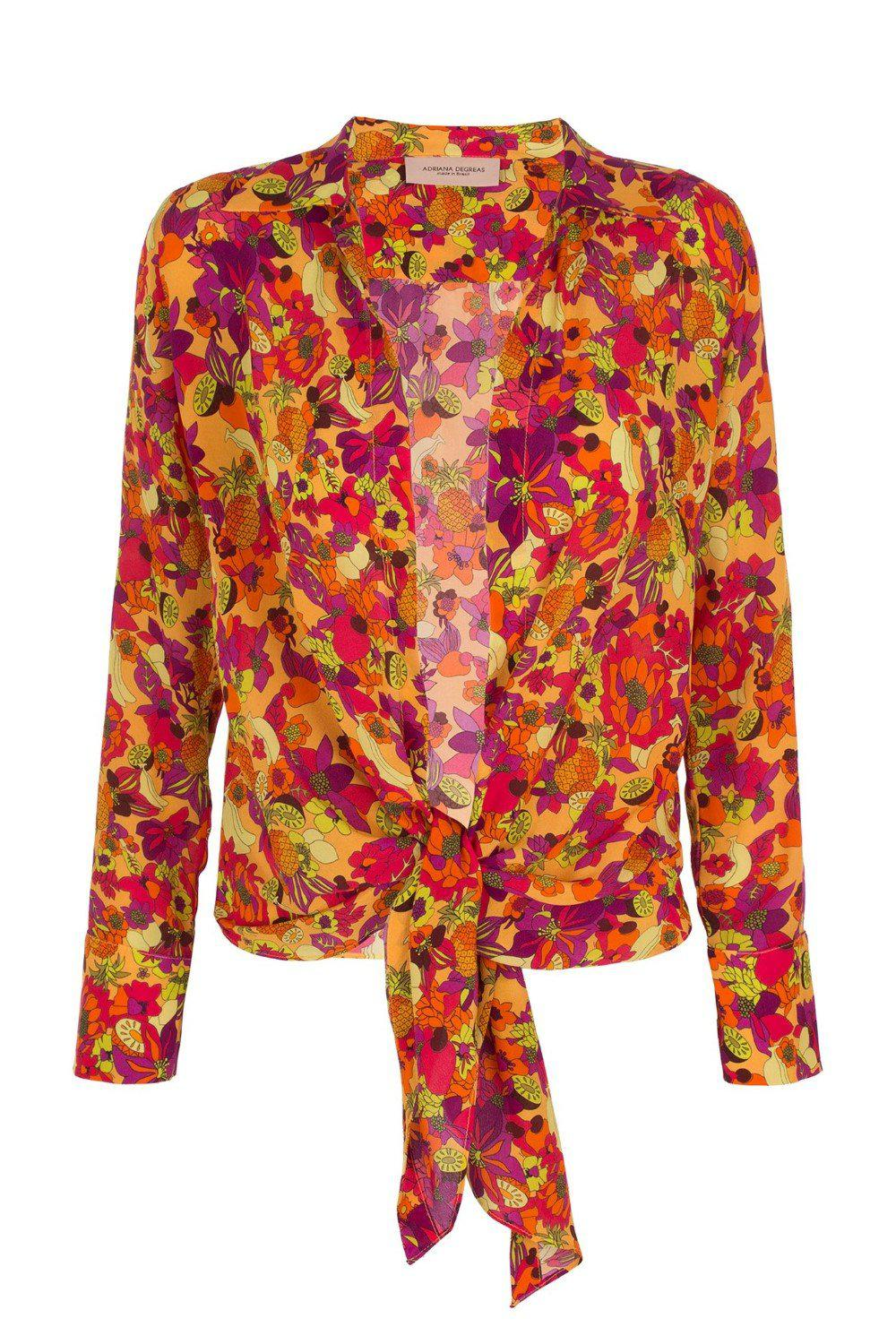 Fruits Print Shirt with Knot Detail