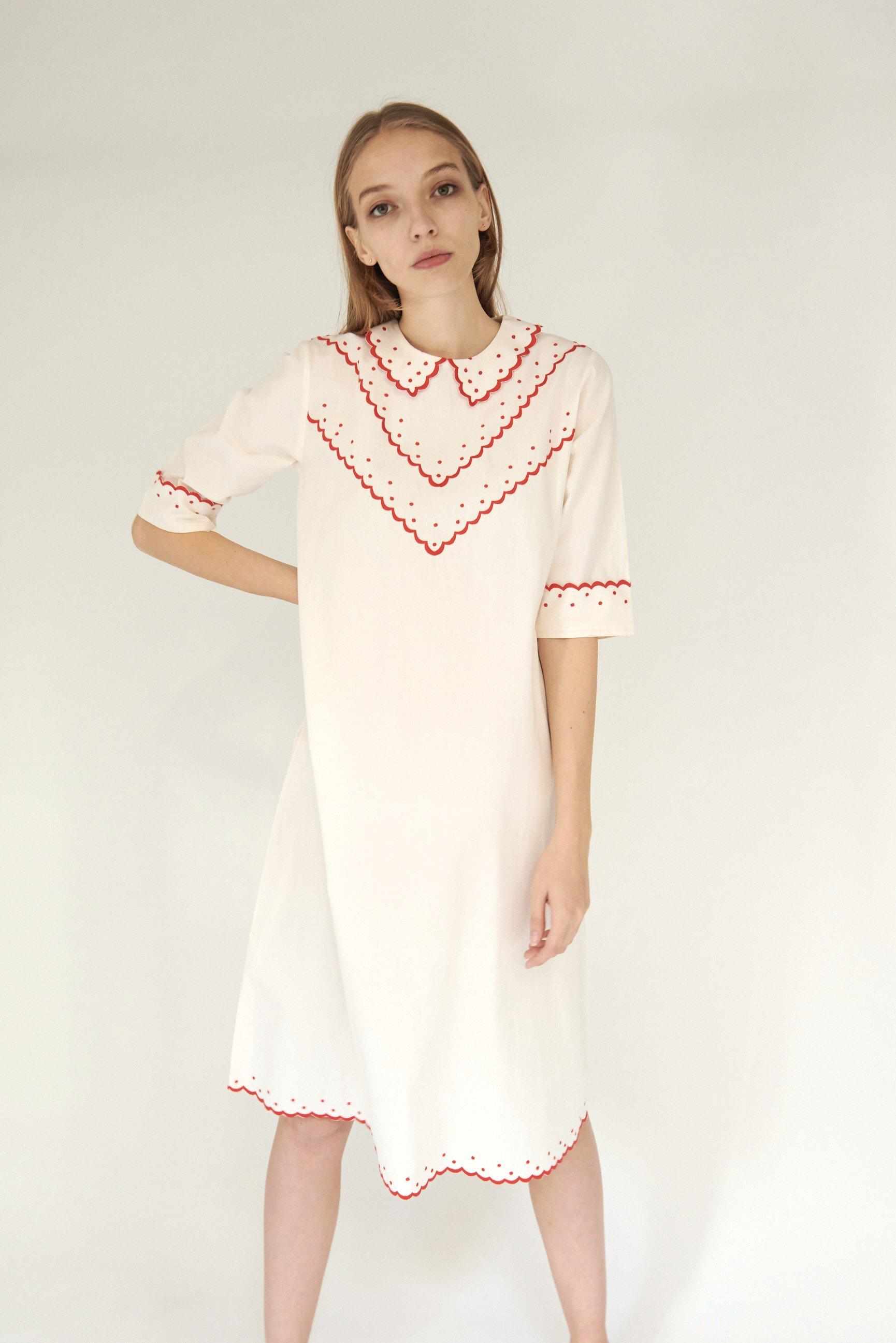 Shirley Dress in Cream with Red Embroidery 3