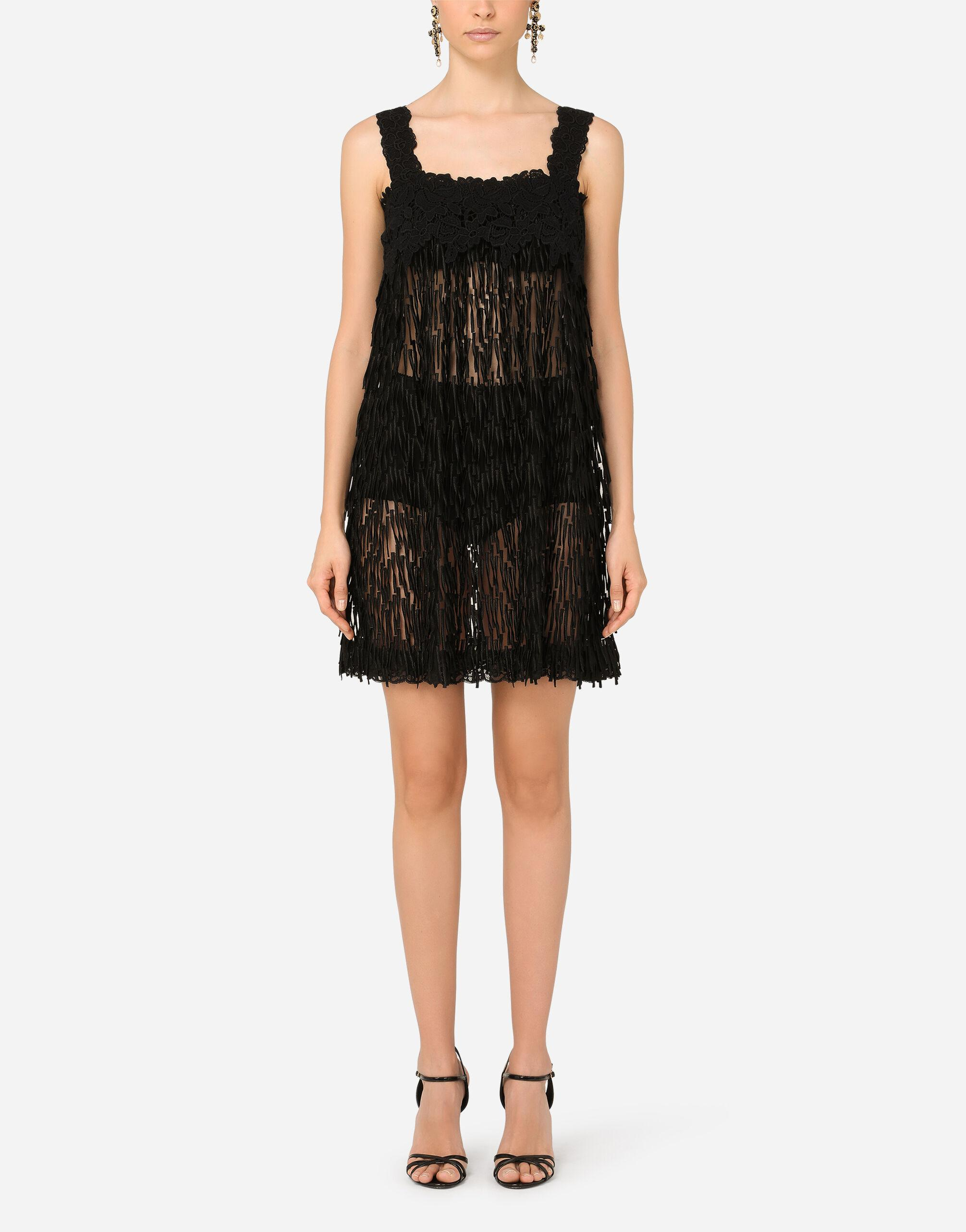 Tulle midi dress with emroidered fringing