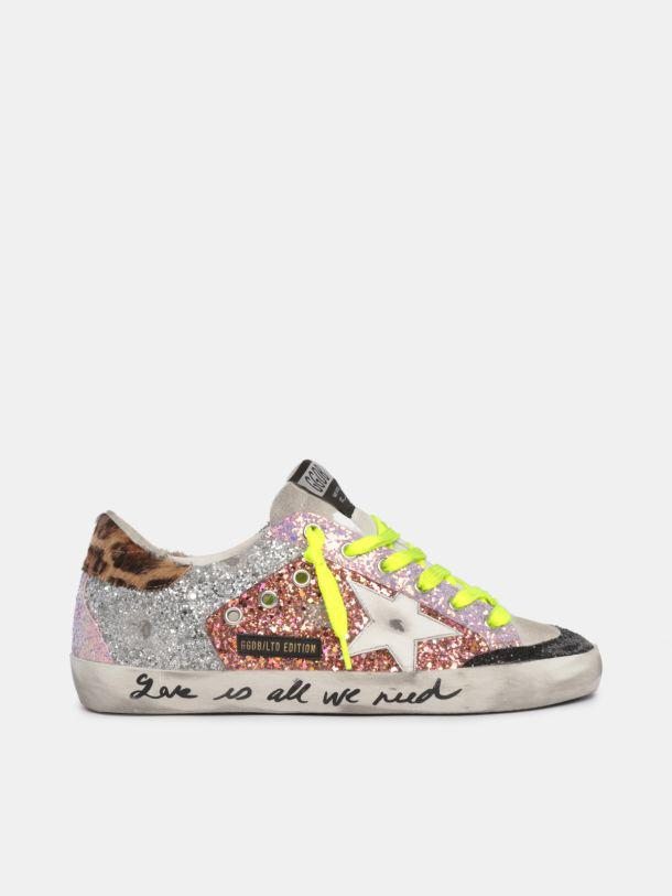 LTD Super-Star sneakers with colored glitter and lettering on the foxing