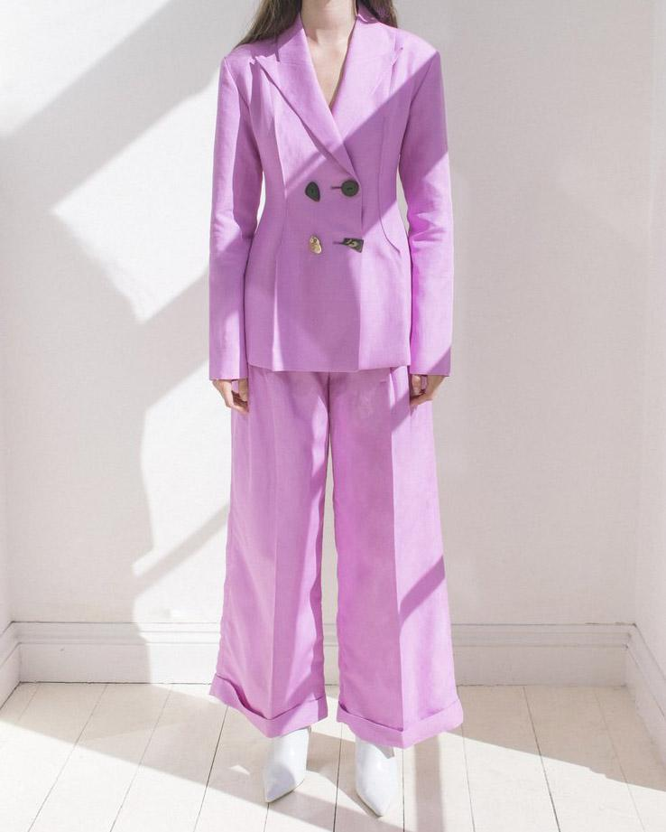 Dylan Tailored Trousers Linen Taffy Pink - SPECIAL PRICE