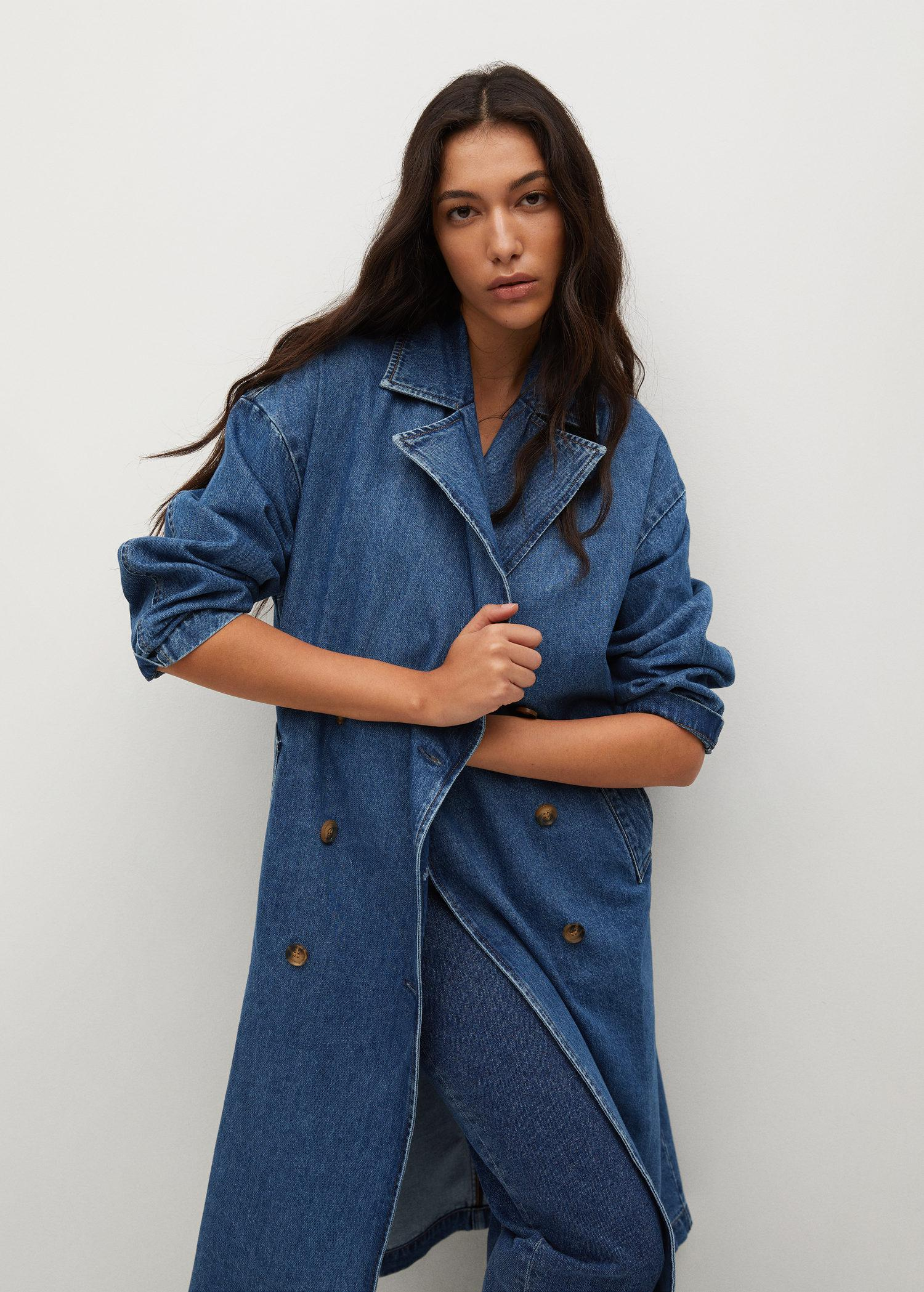 Double breasted denim trench